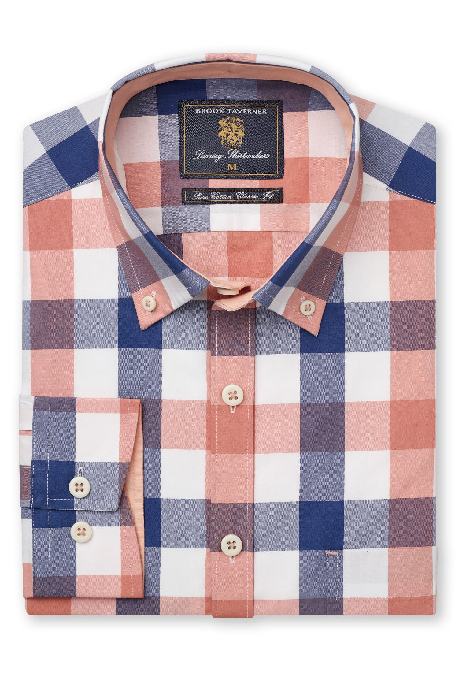 Navy And Tangerine Large Check Button Down Collar Shirt