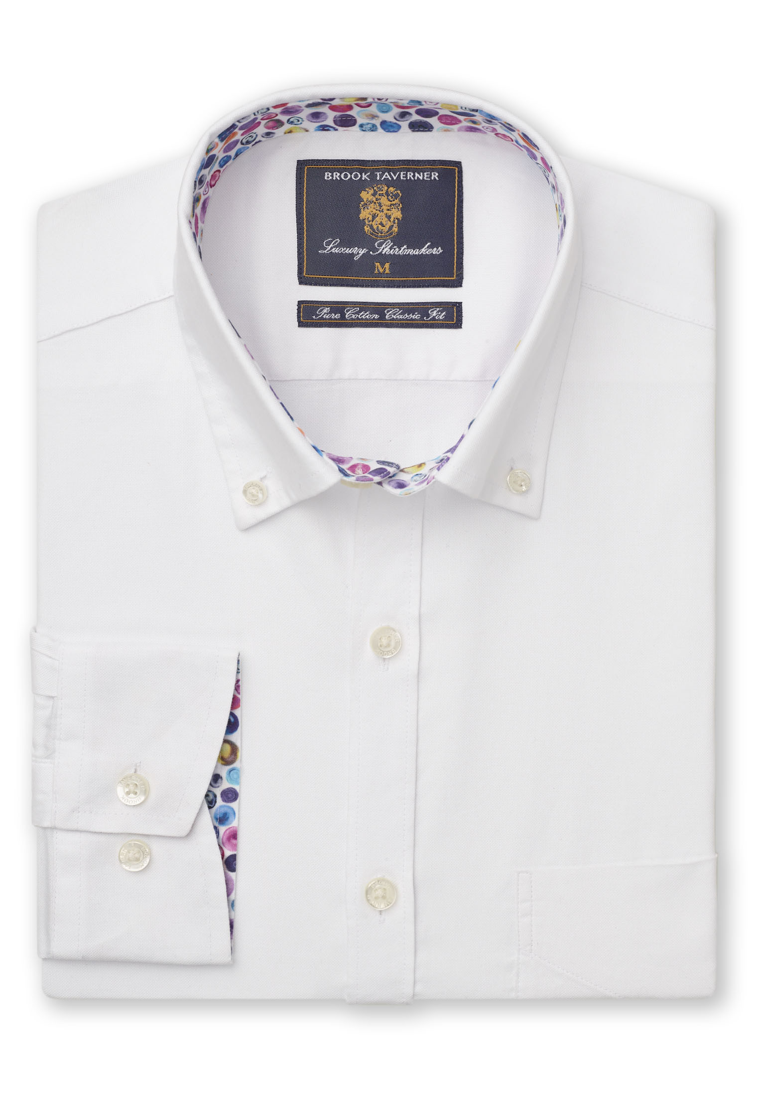 Long Sleeve Classic Fit White Oxford with Coloured Trim Shirt