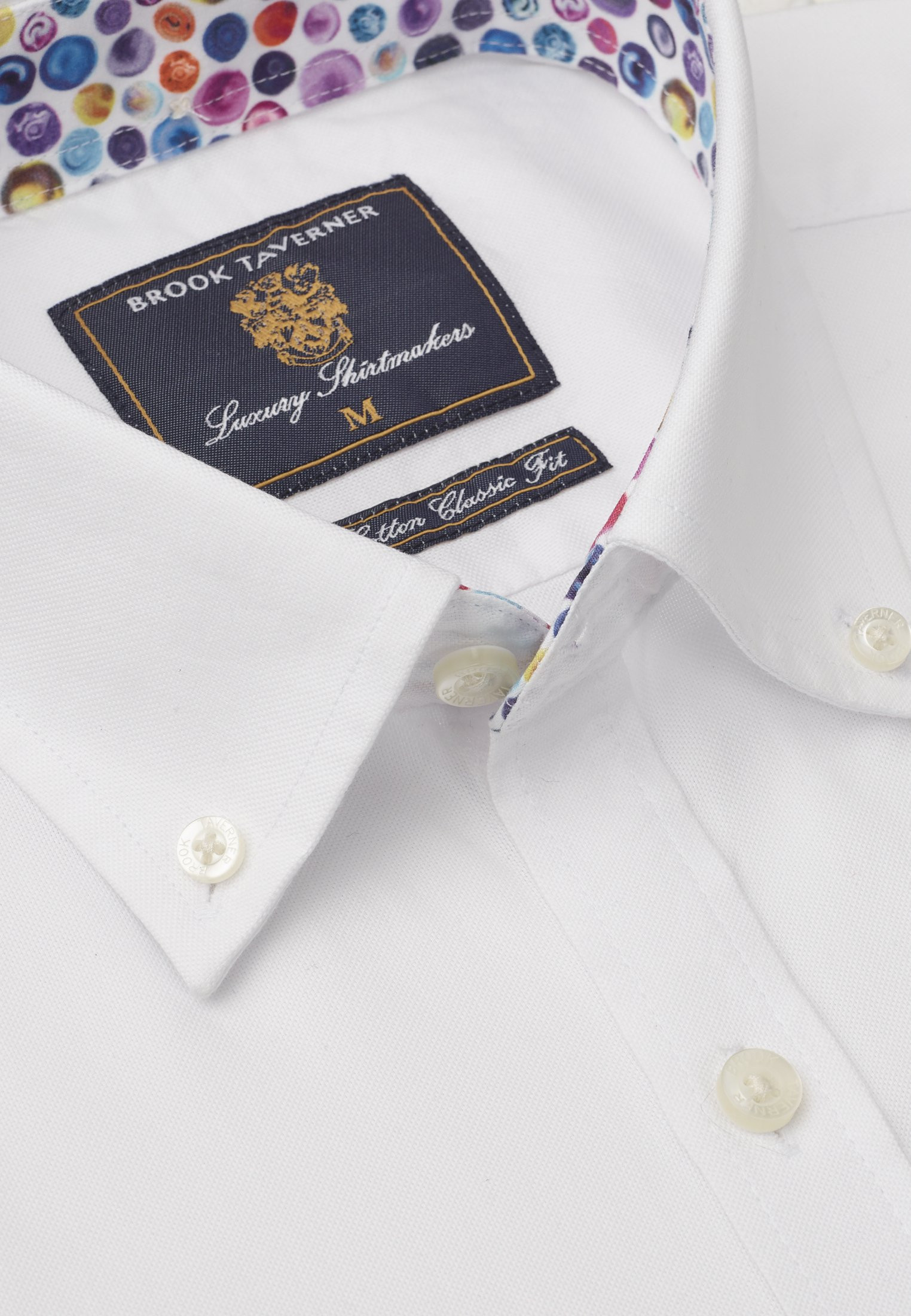 Short Sleeve Classic Fit White Oxford with Coloured Trim Shirt