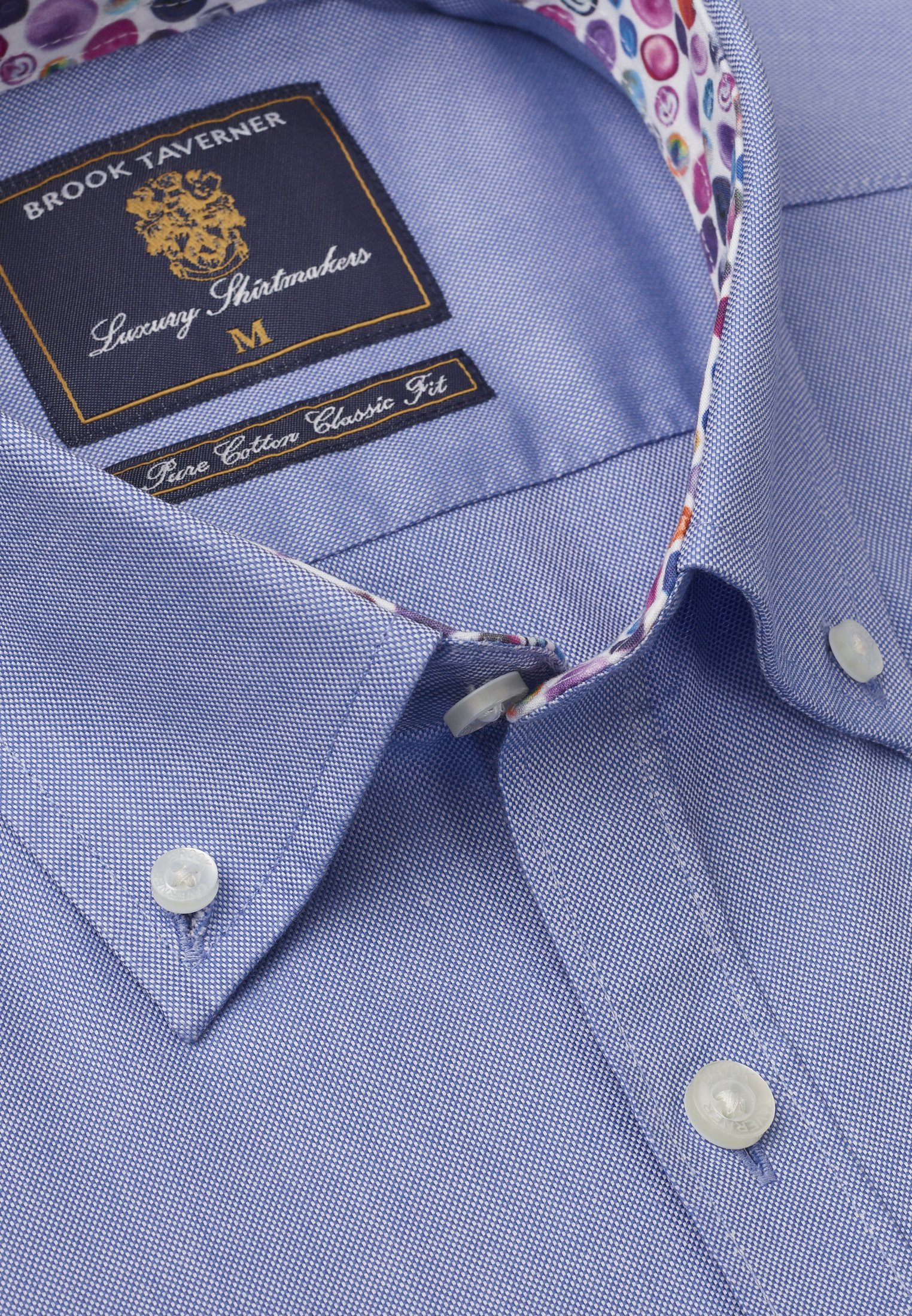 Short Sleeve Tailored Fit Blue Oxford with Coloured Trim Shirt
