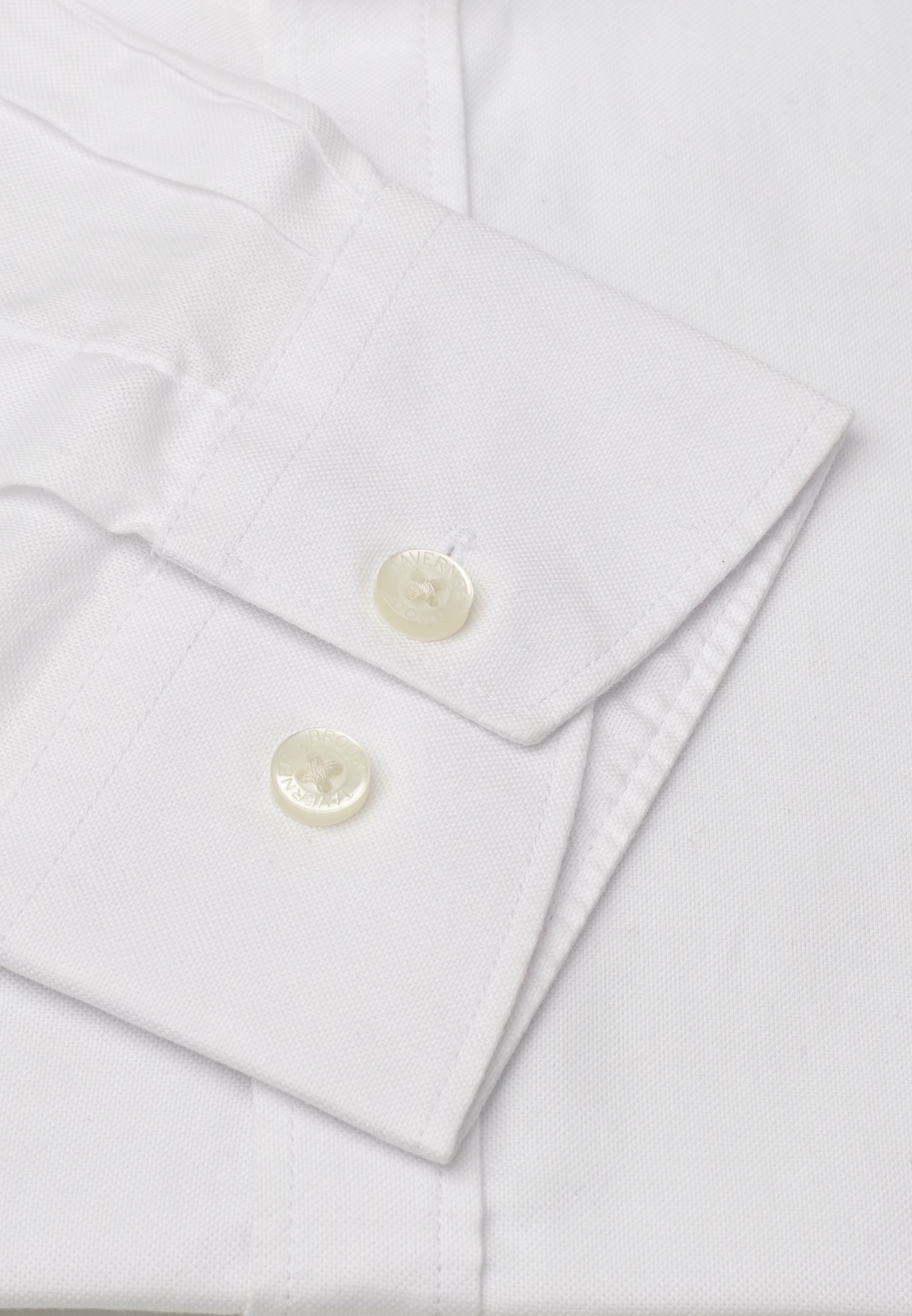Classic and Tailored Fit Grandad Collar Long Sleeve White Oxford Shirt
