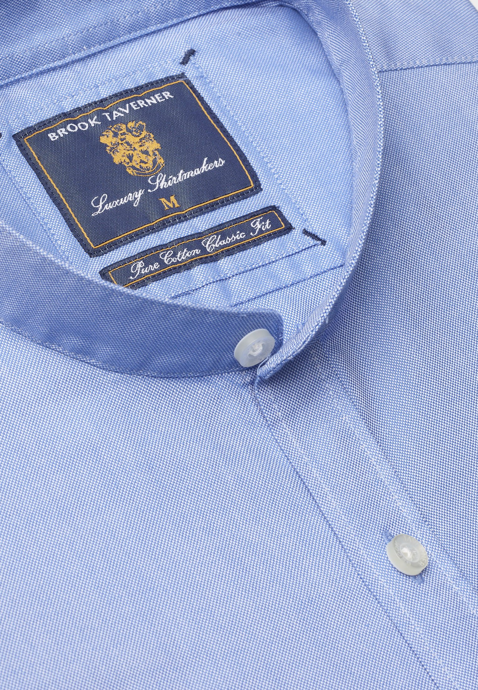 Classic and Tailored Fit Grandad Collar Long Sleeve Blue Oxford Shirt