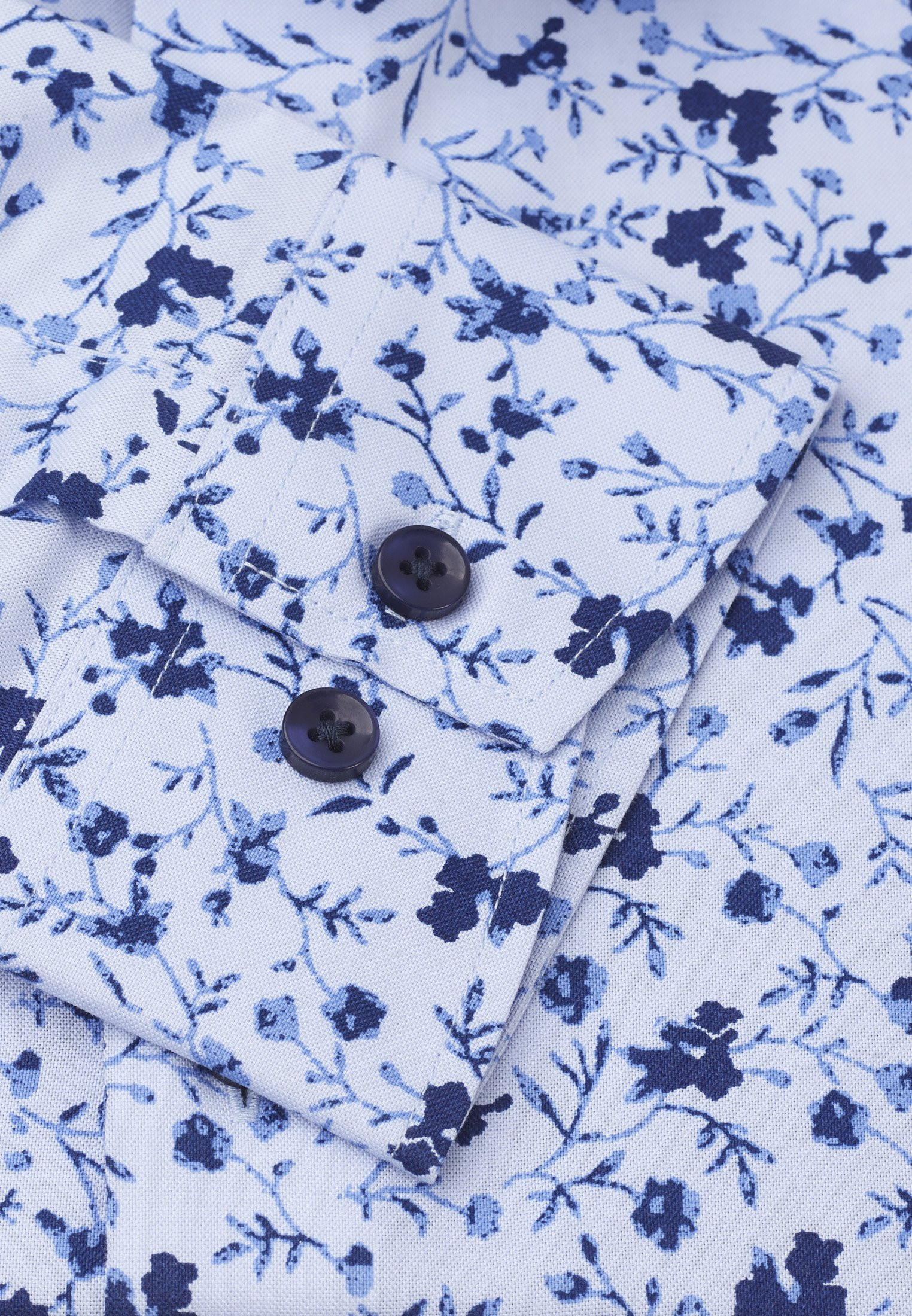 Classic Fit Blue With Navy and Blue Flower Shirt