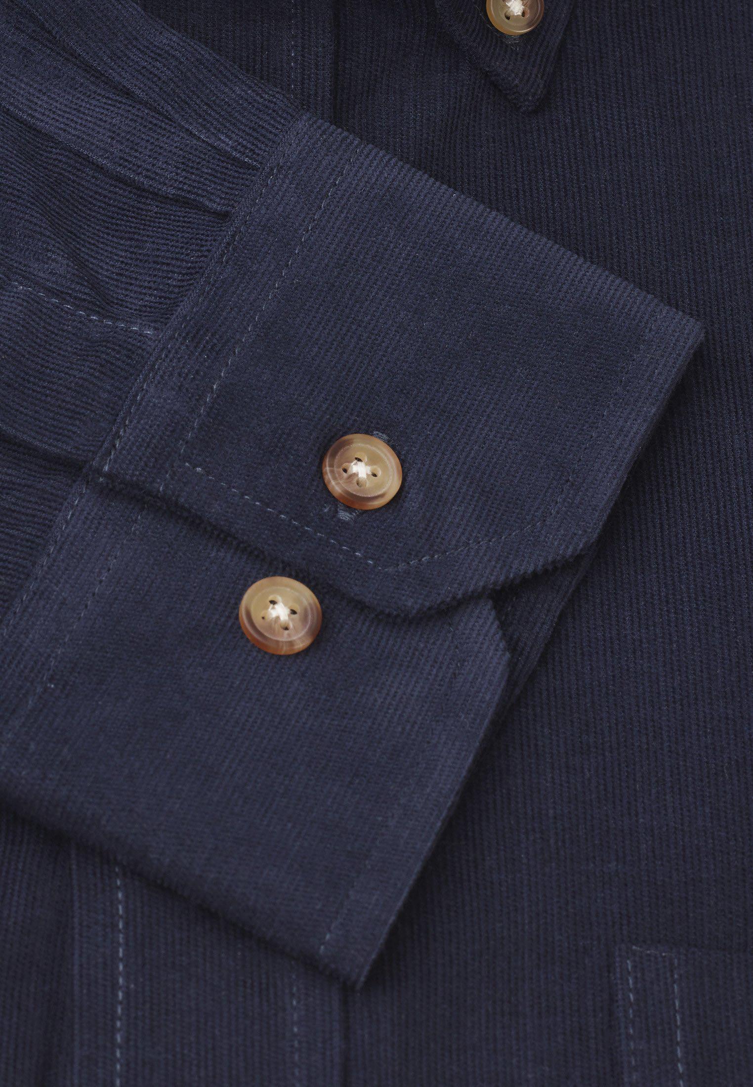 Navy Fine Needle Cord Shirt