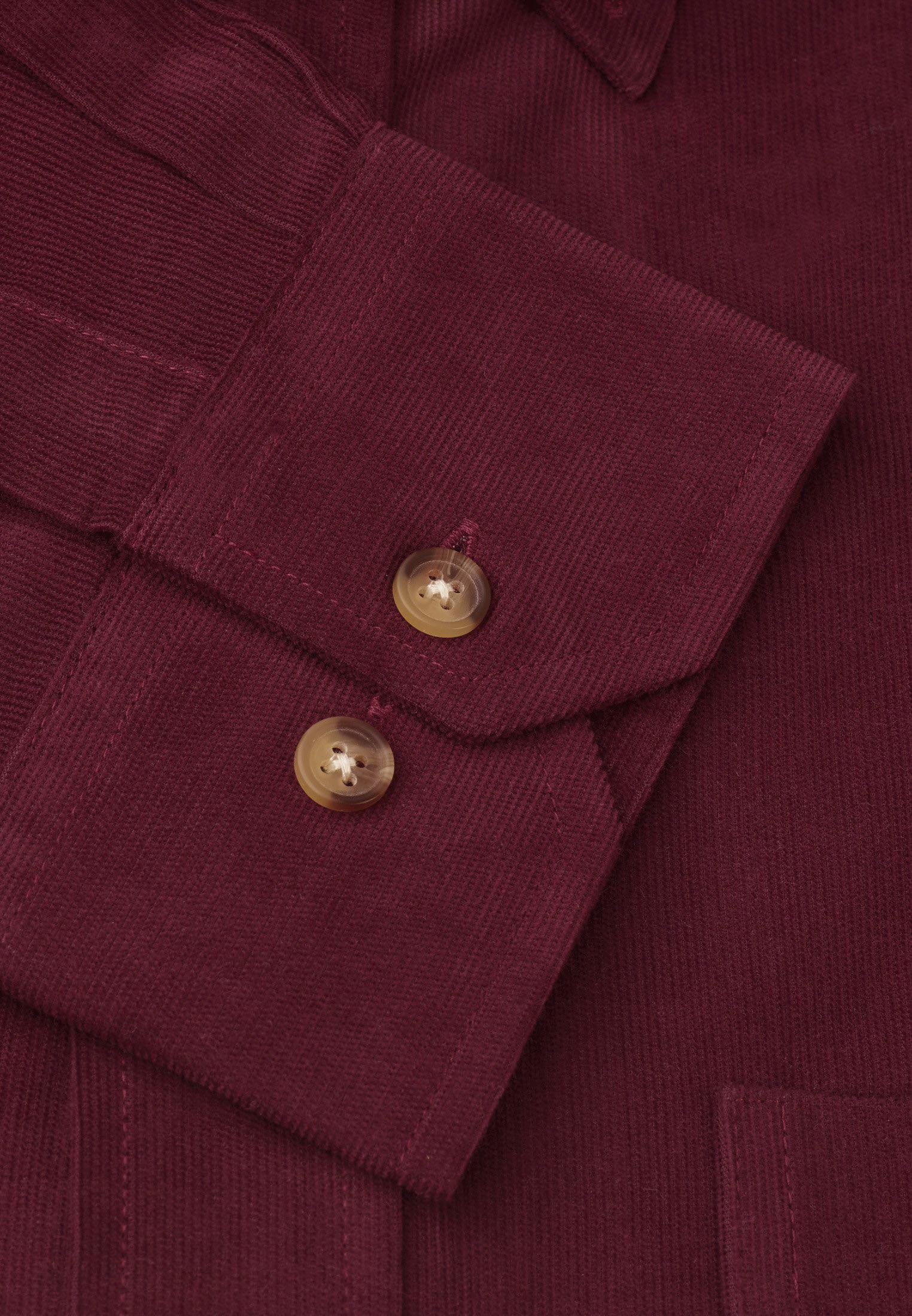 Wine Fine Needle Cord Shirt