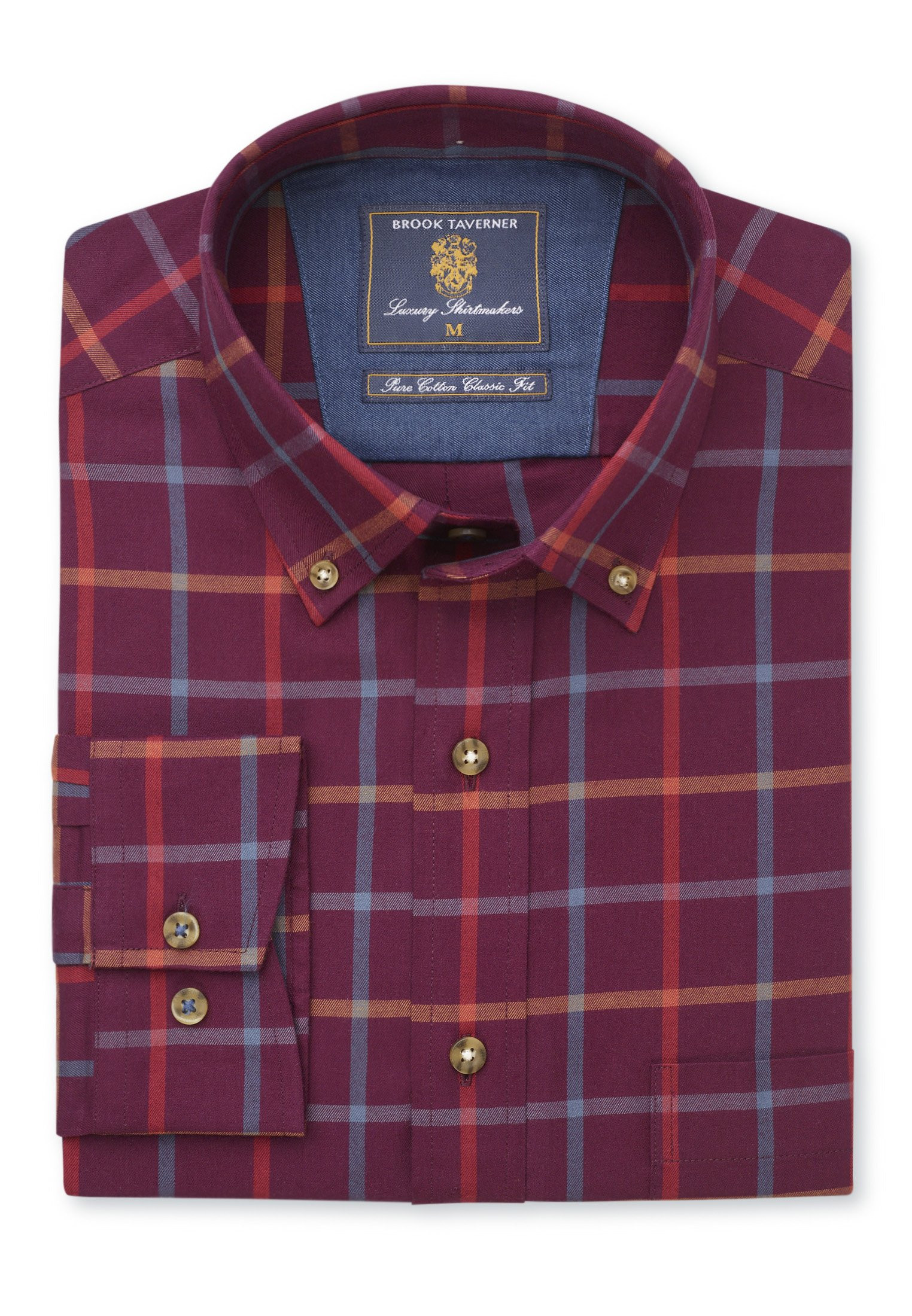 Classic Fit Cashemere Touch Burgundy With Blue, Red and Mustard Check Shirt