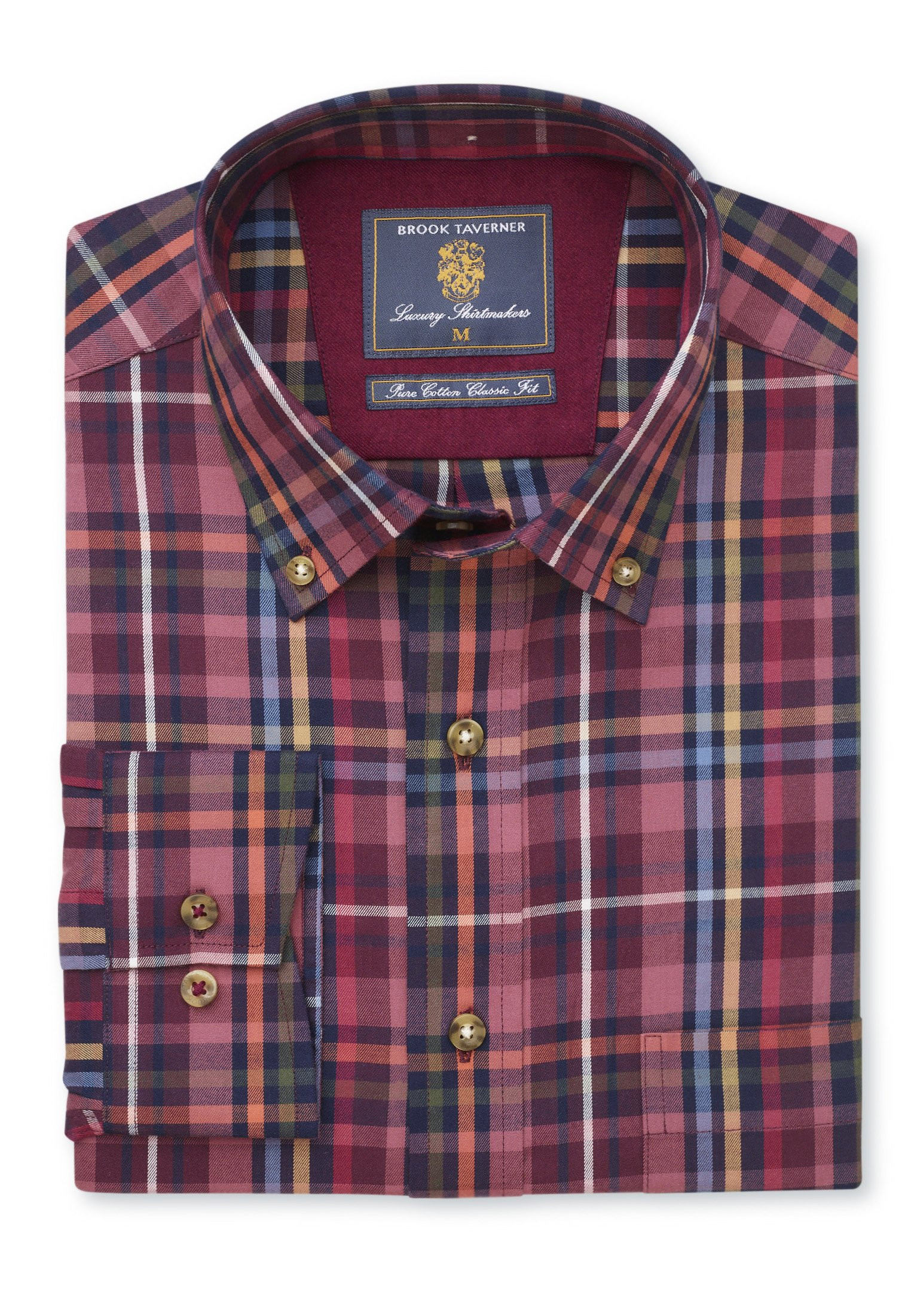 Classic Fit Cashmere Touch Wine With Mustard, Moss, Orange, Blue and Navy Check Shirt