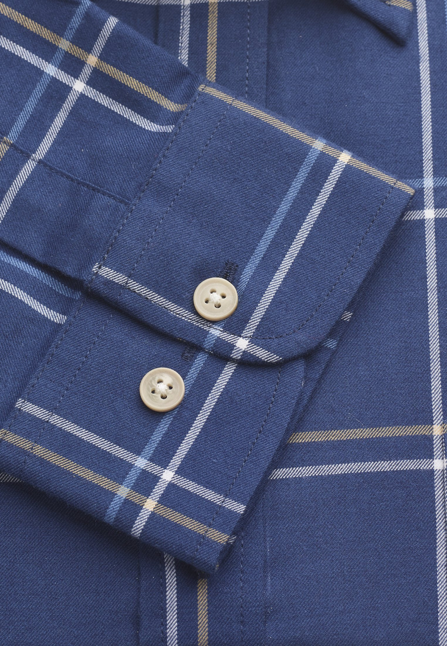 Short, Regular and Long Sleeve Navy With Blue and Mustard Check Shirt