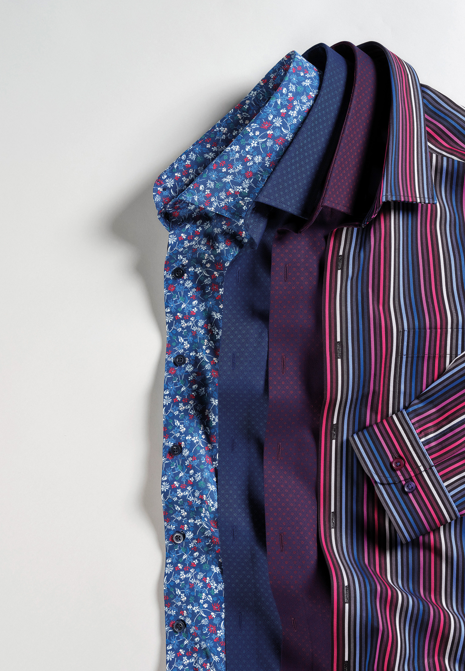 Cobalt Blue with Red and White Floral Shirt