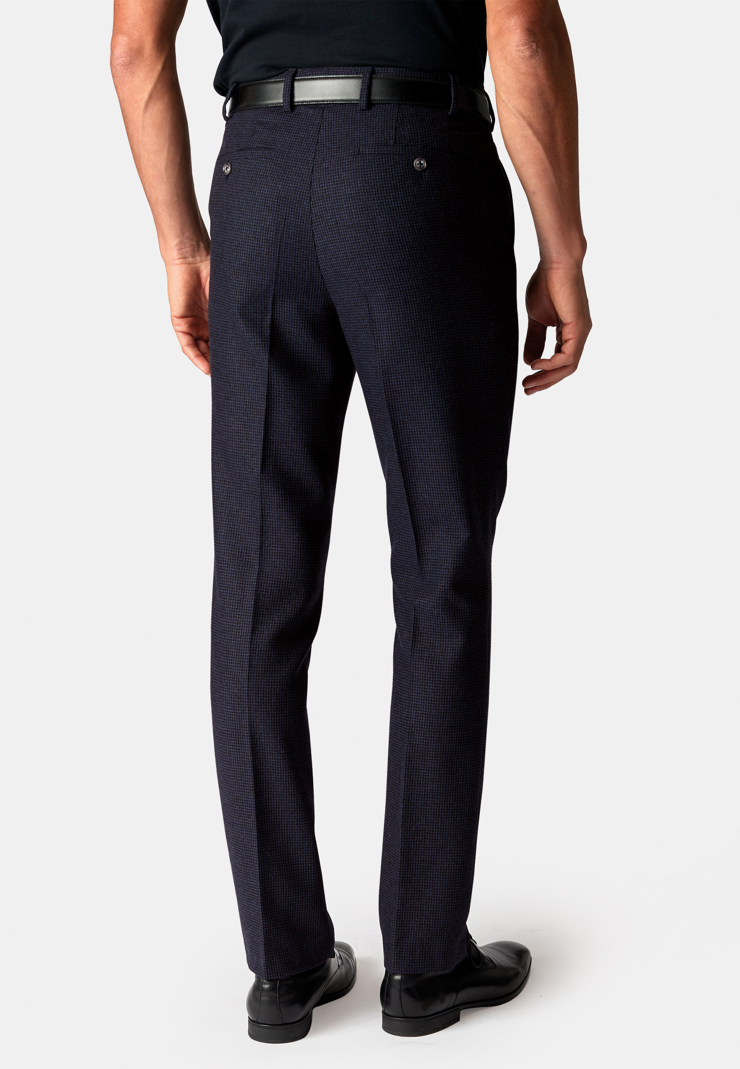 Argentina Navy Puppytooth Soft Handle Classic Fit Trouser