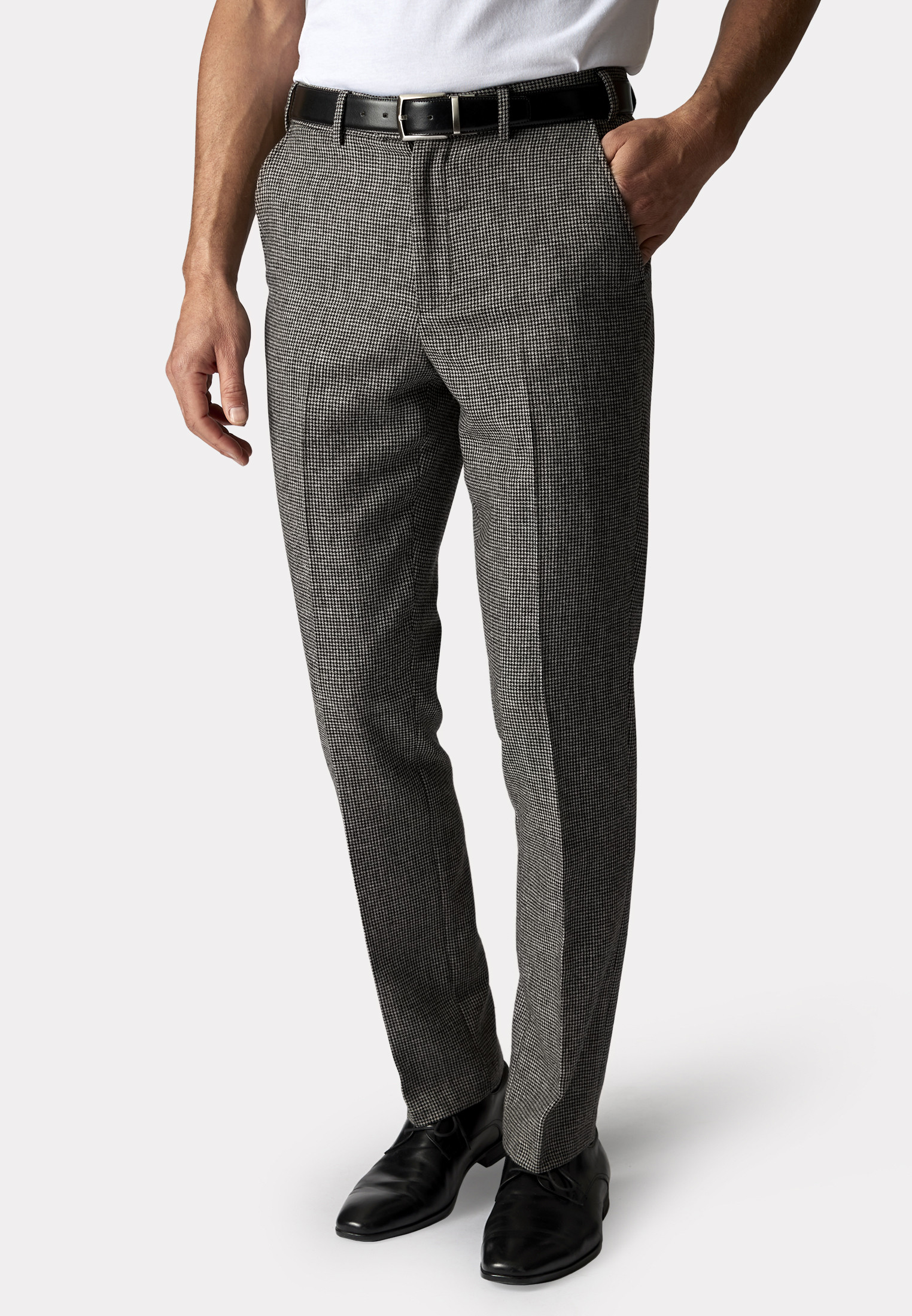 Argentina Charcoal Puppytooth Soft Handle Classic Fit Trouser