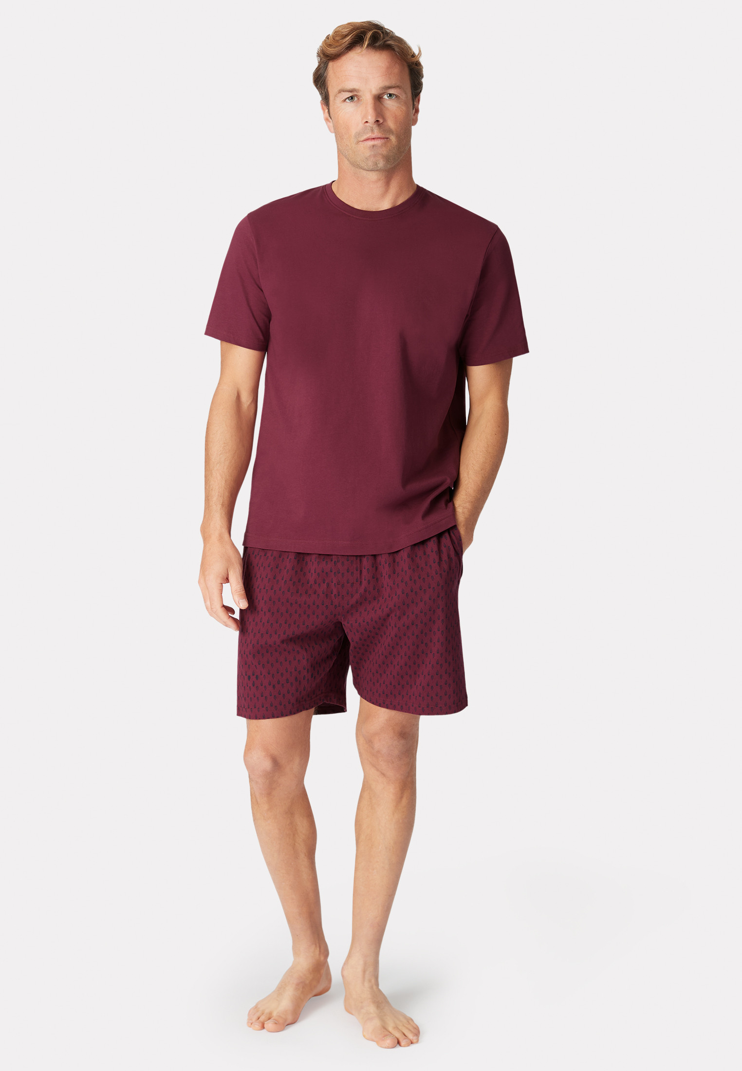 Askwith Short Sleeve Wine Crew Neck T-Shirt