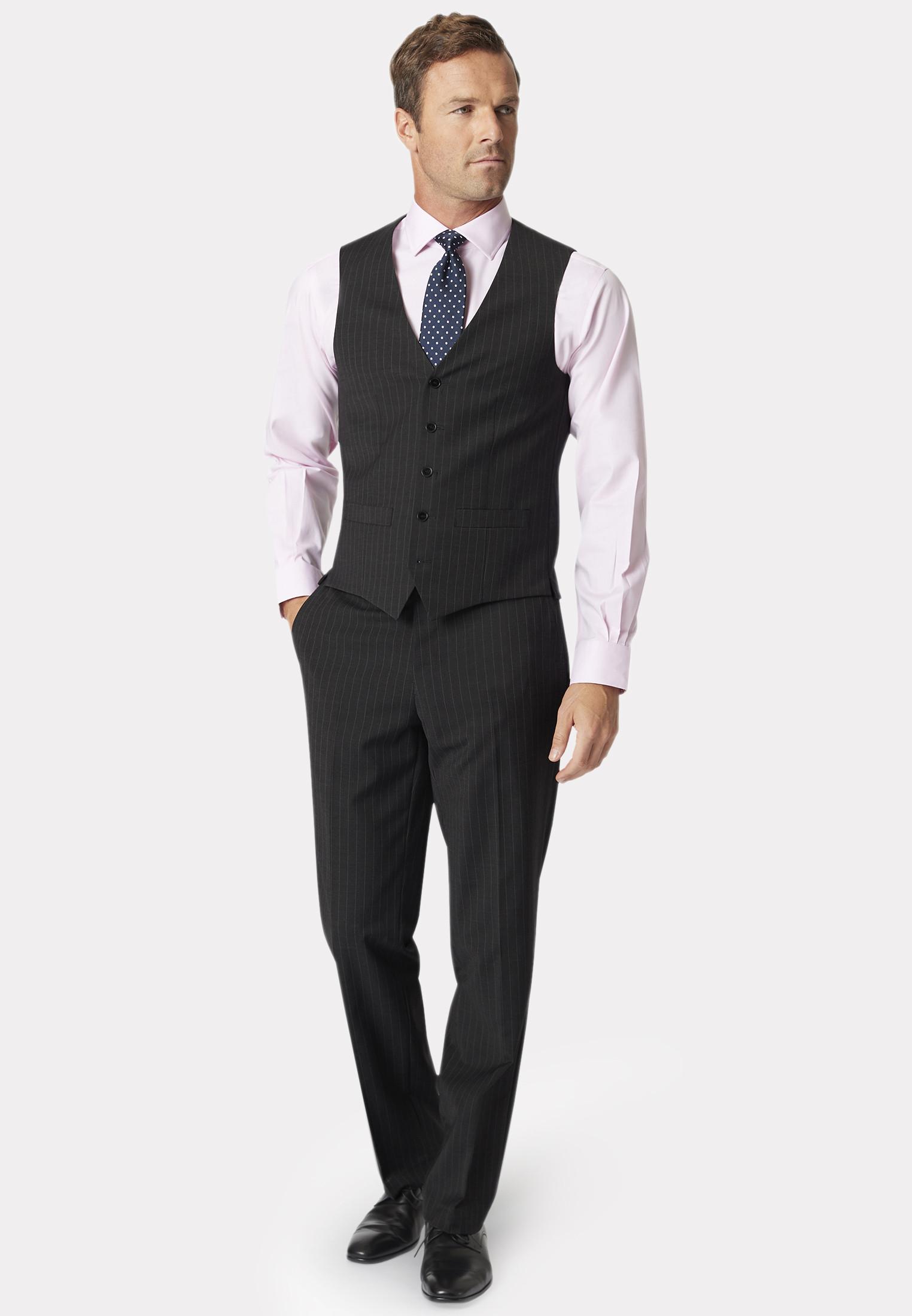 Avalino Charcoal Pinstripe Three Piece Travel Suit - Waistcoat Optional