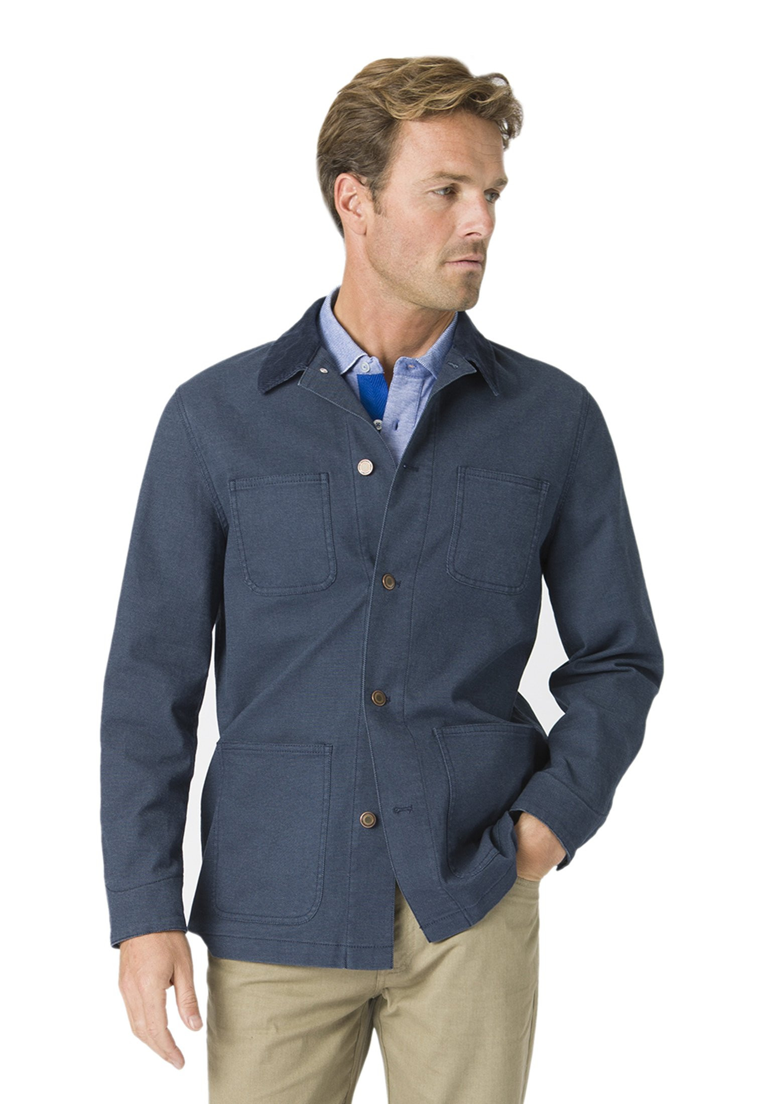 Beeton Blue Unstructured Canvas Casual Jacket