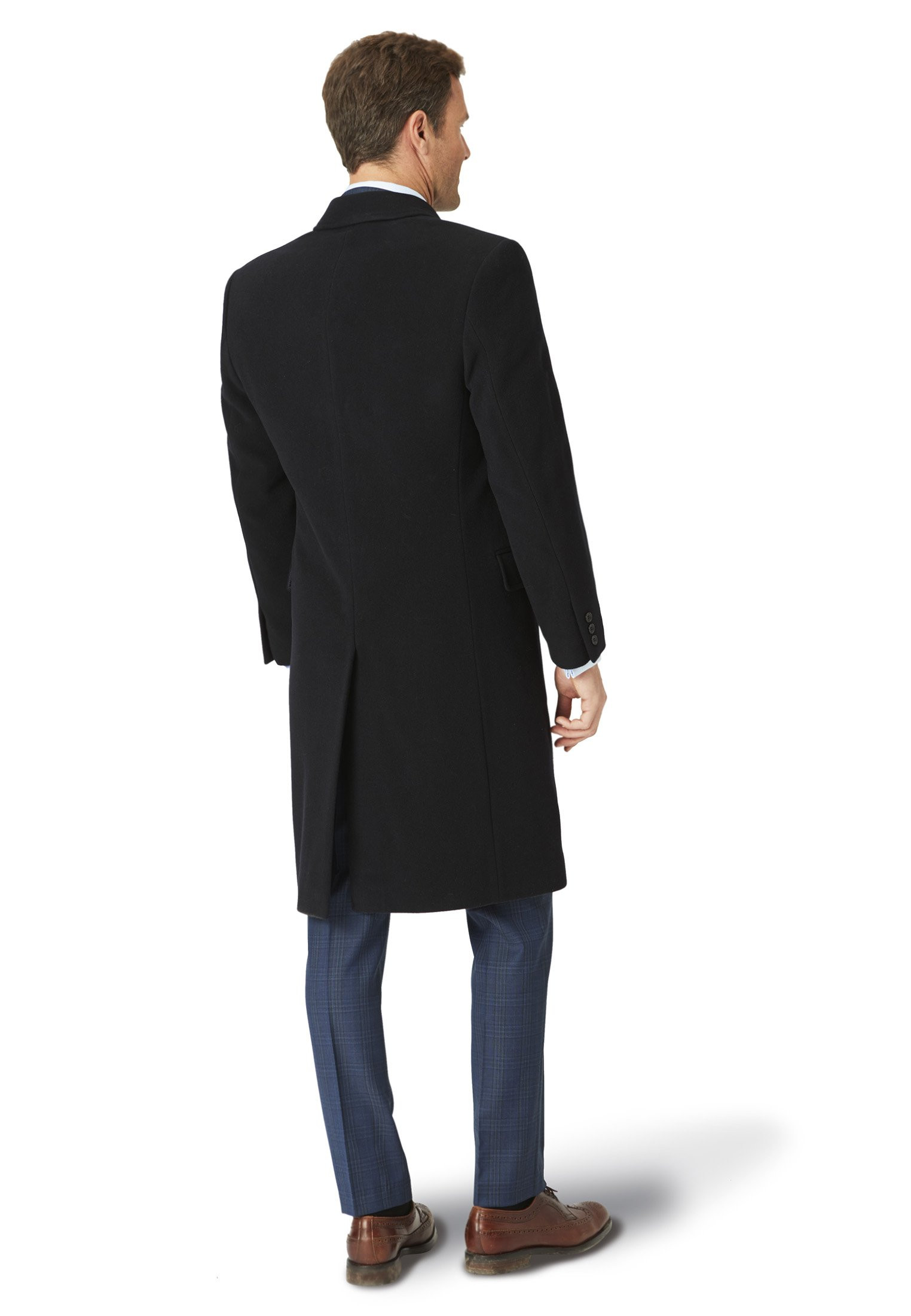 Navy Bond Wool Cashmere Overcoat