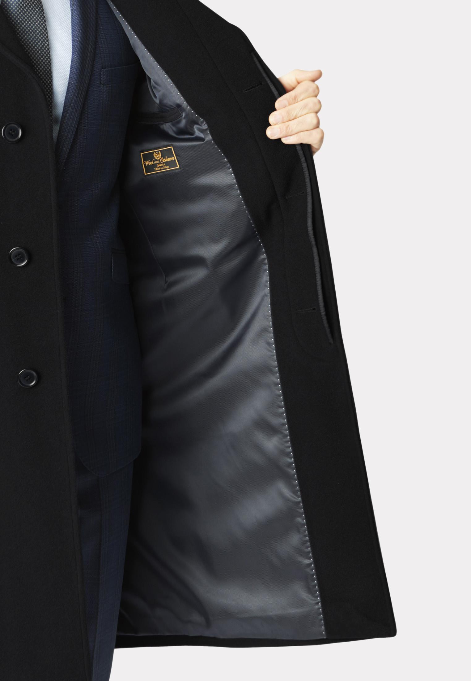 Black Bond Wool Cashmere Overcoat