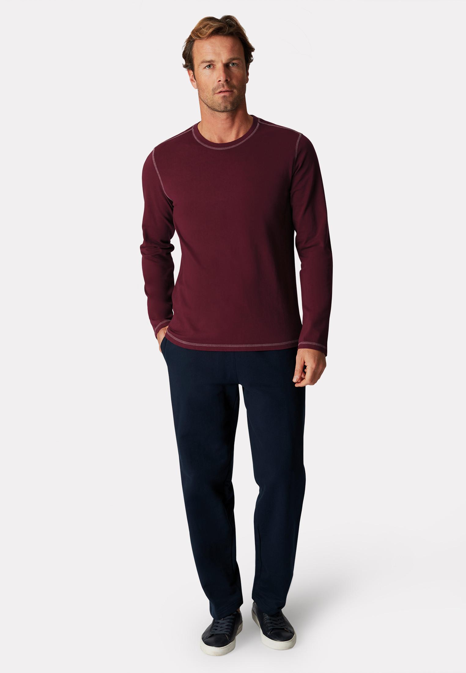 Bristol Wine Garment Washed Crew Neck Long Sleeve T-Shirt