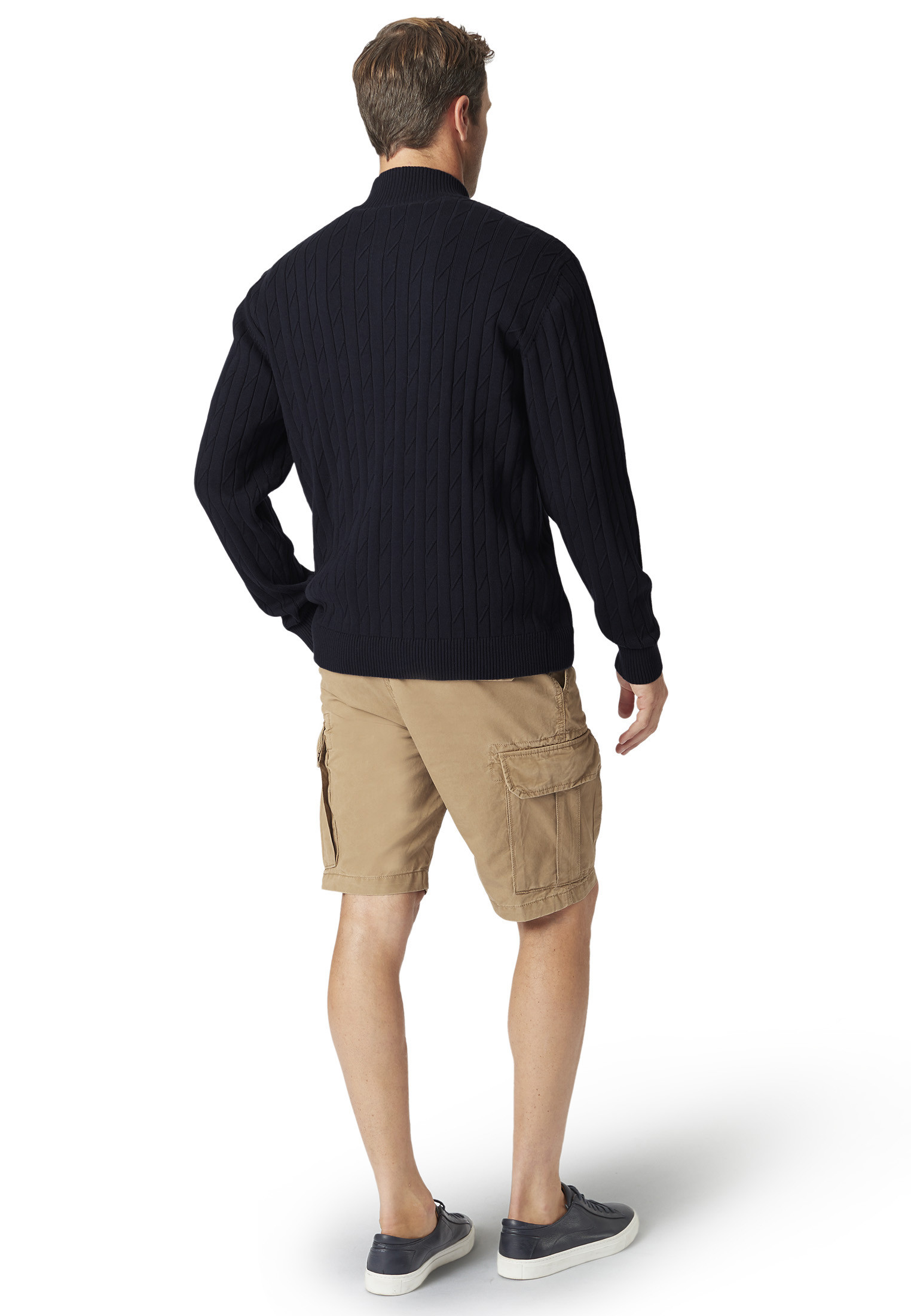 Byford Navy Cable Knit Zip Neck Jumper