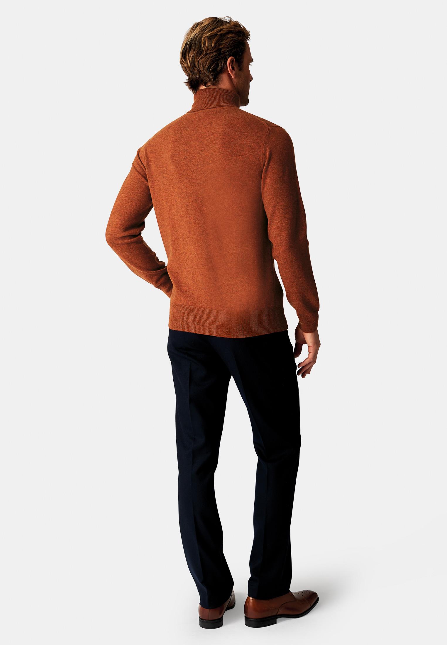Burnt Orange Cashmere 14 Gauge Roll Neck Jumper