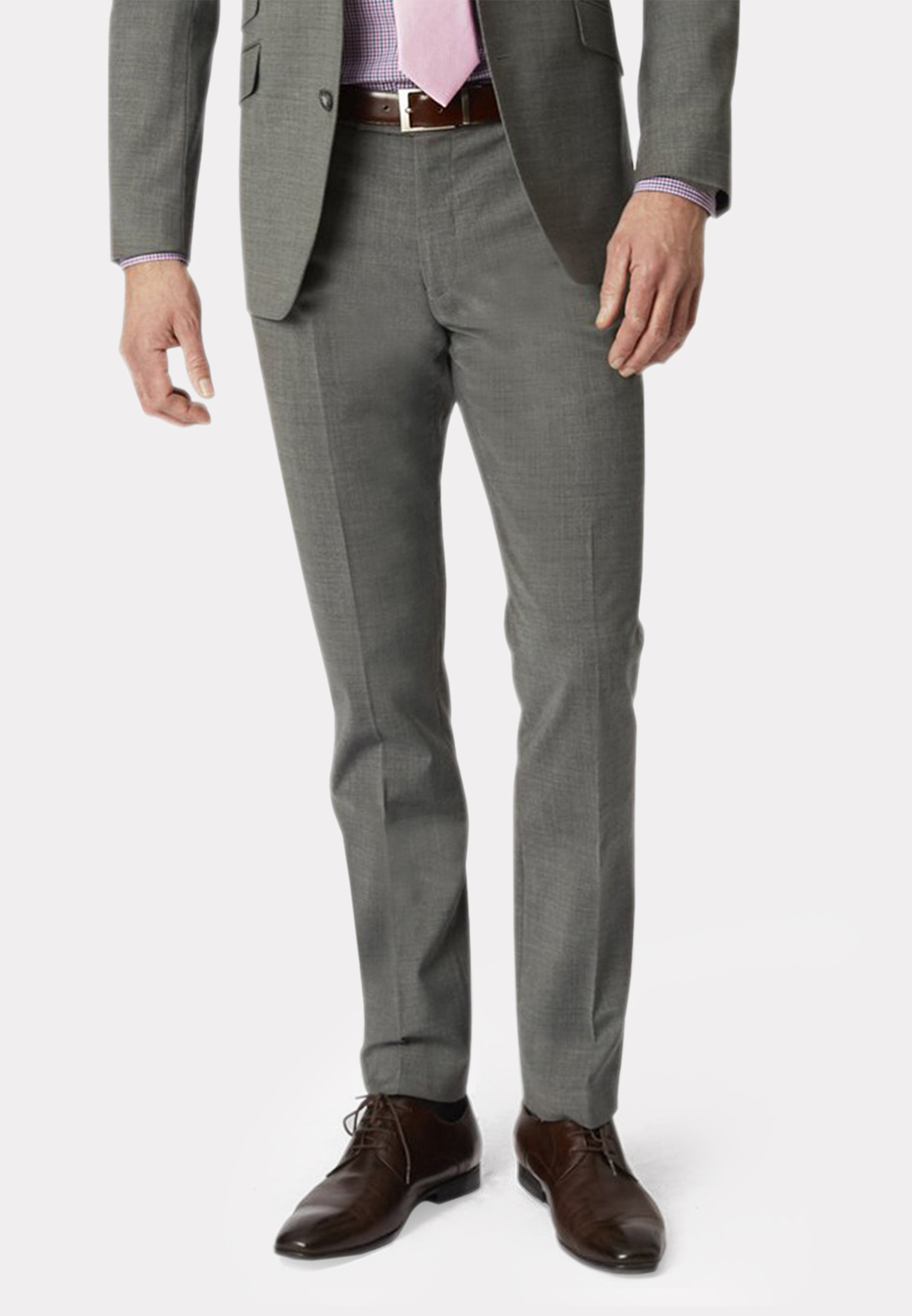 Grey Cassino Tailored Fit Washable Suit Trousers