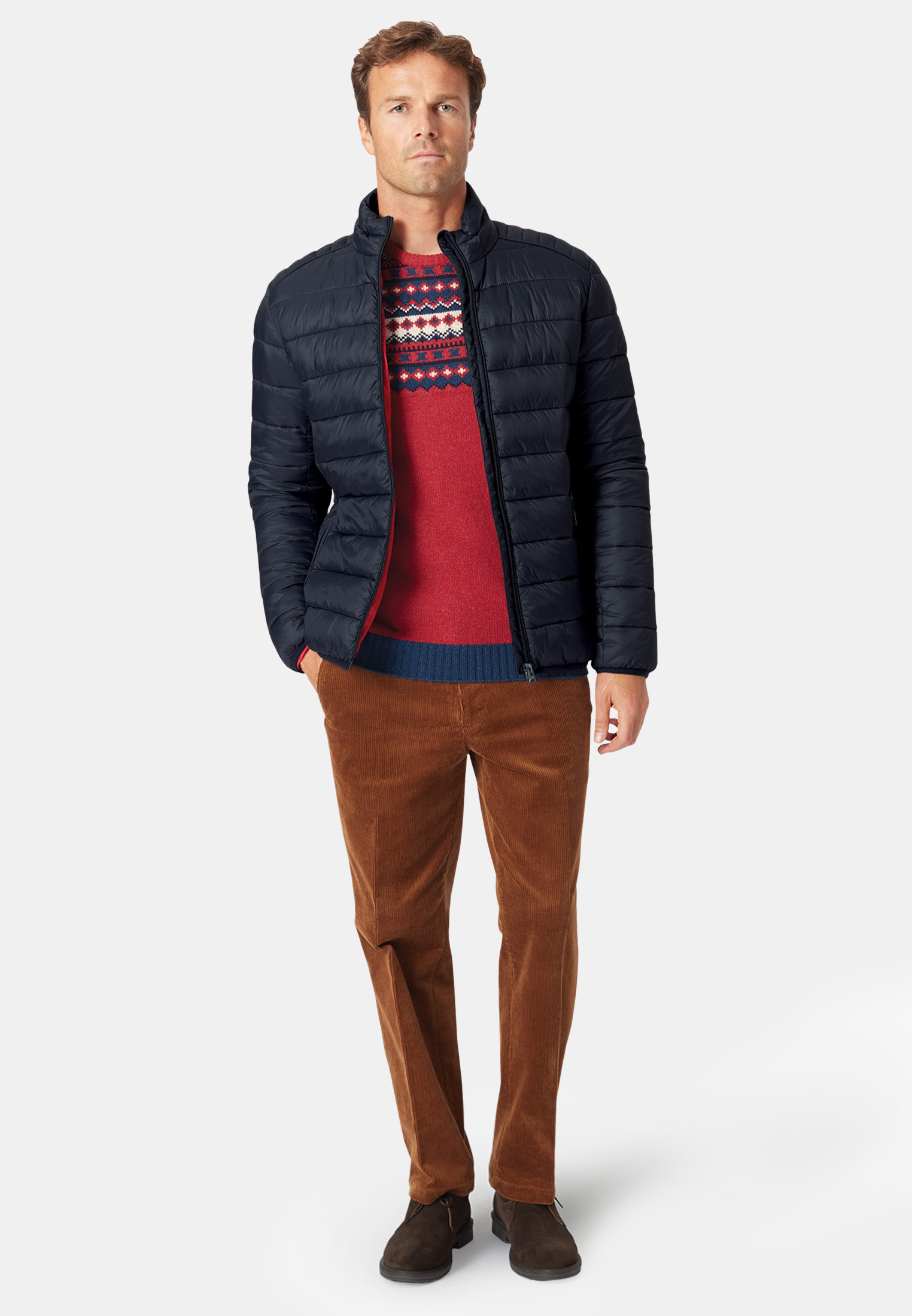 Clarke Navy Quilted Baffle Jacket