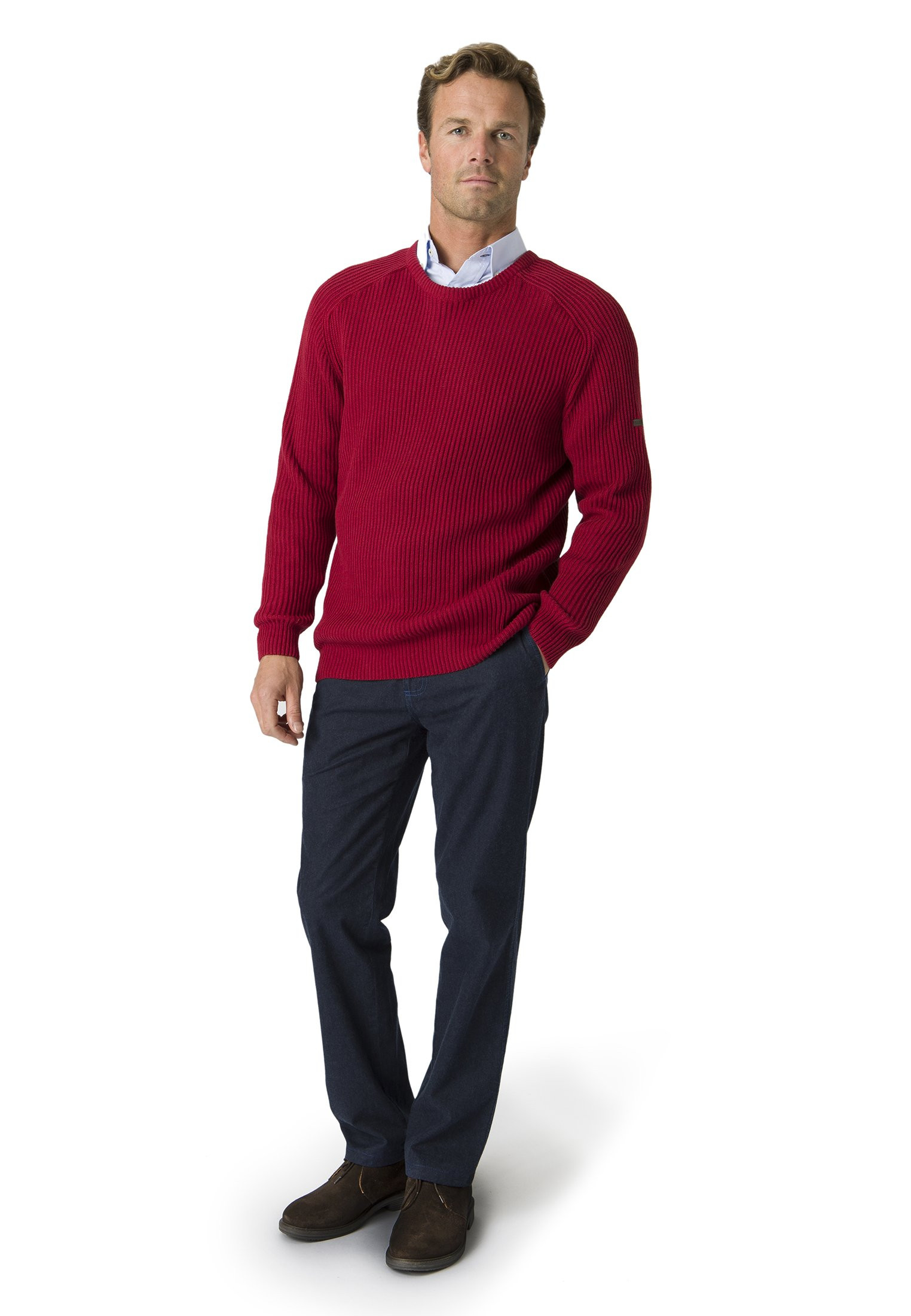 Clyston Red Ribbed Crew Neck