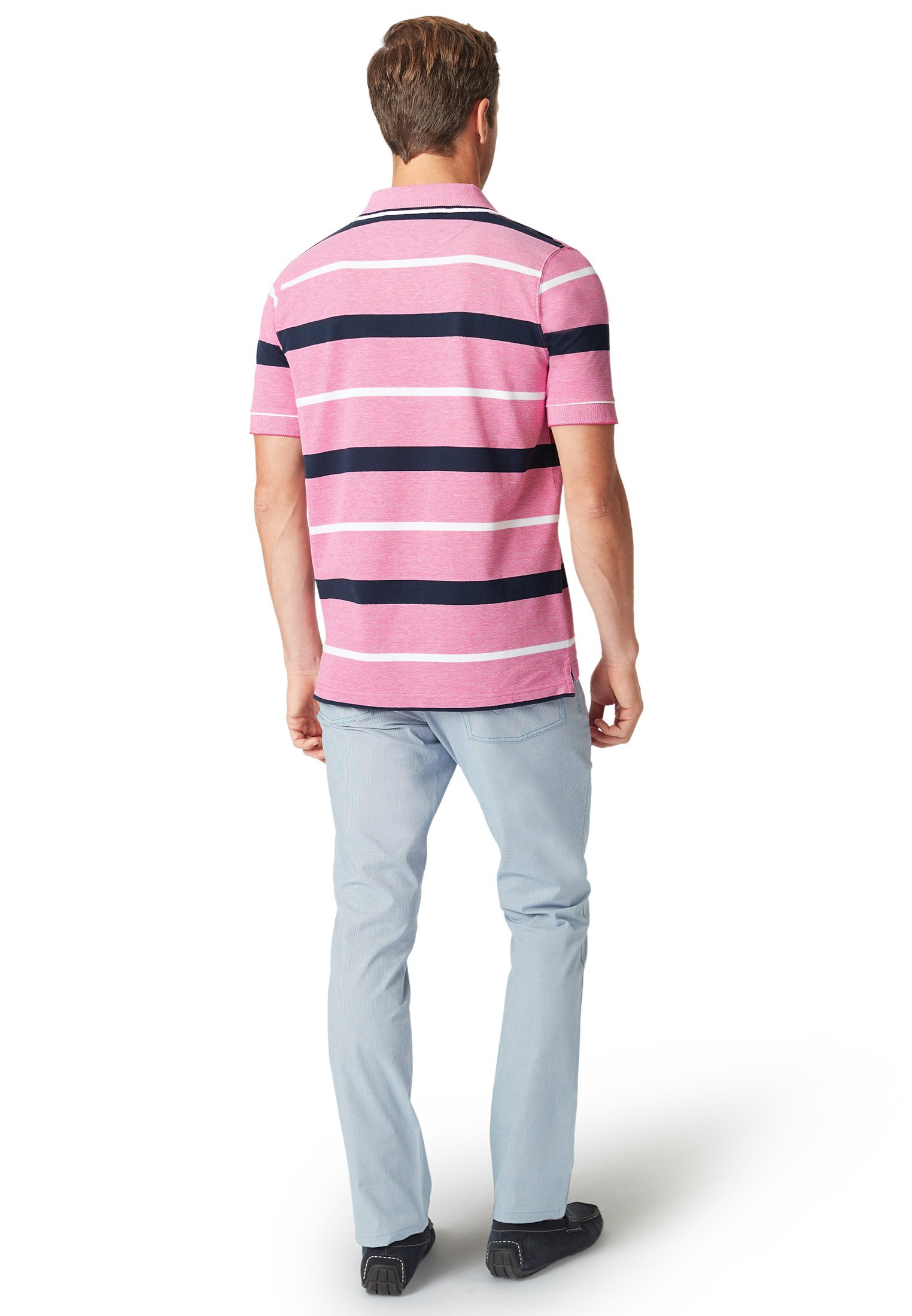 Devizes Raspberry with Navy and White Hoop Soft Handle Piqué Polo Shirt