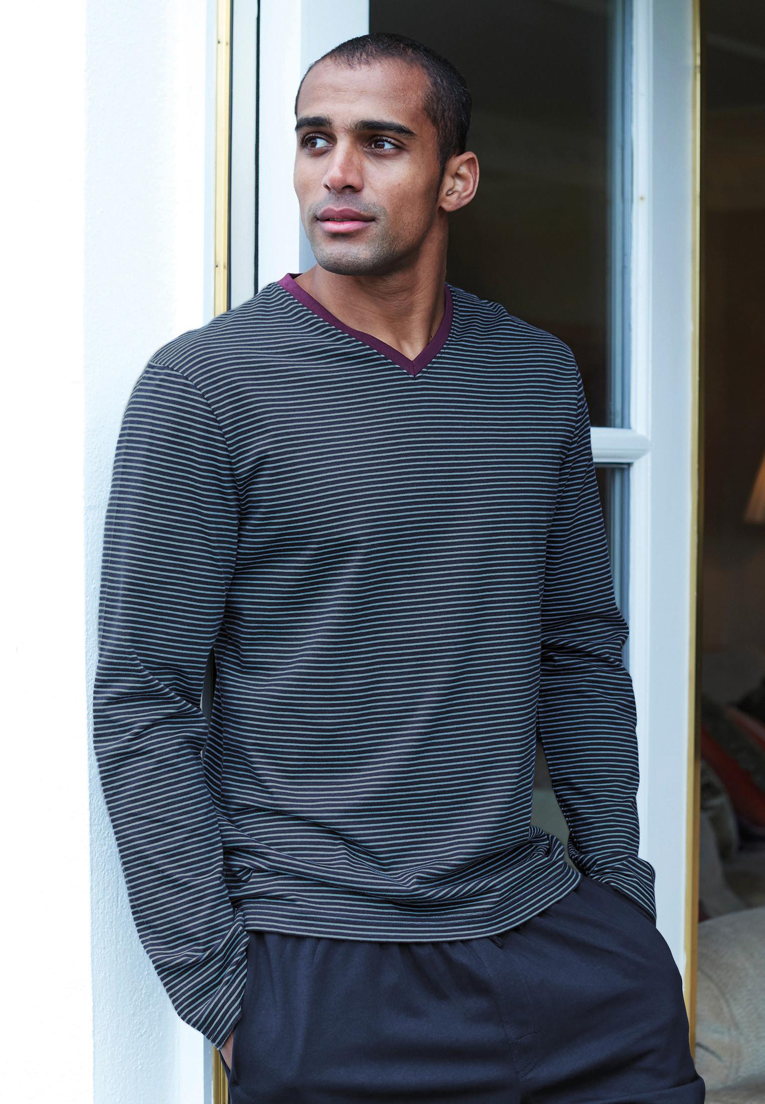 Embsay Long Sleeve Navy and Denim Blue Stripe V-Neck T-Shirt