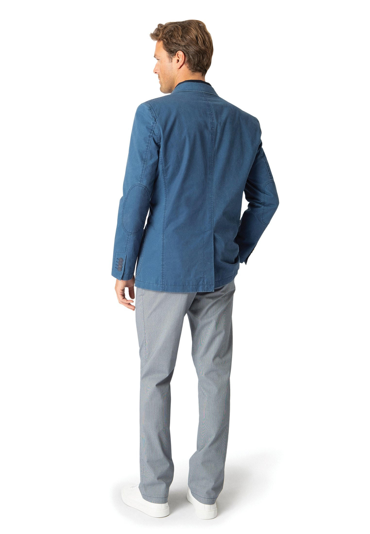 Chirk Blue Casual Semi-Structured Cotton Jacket
