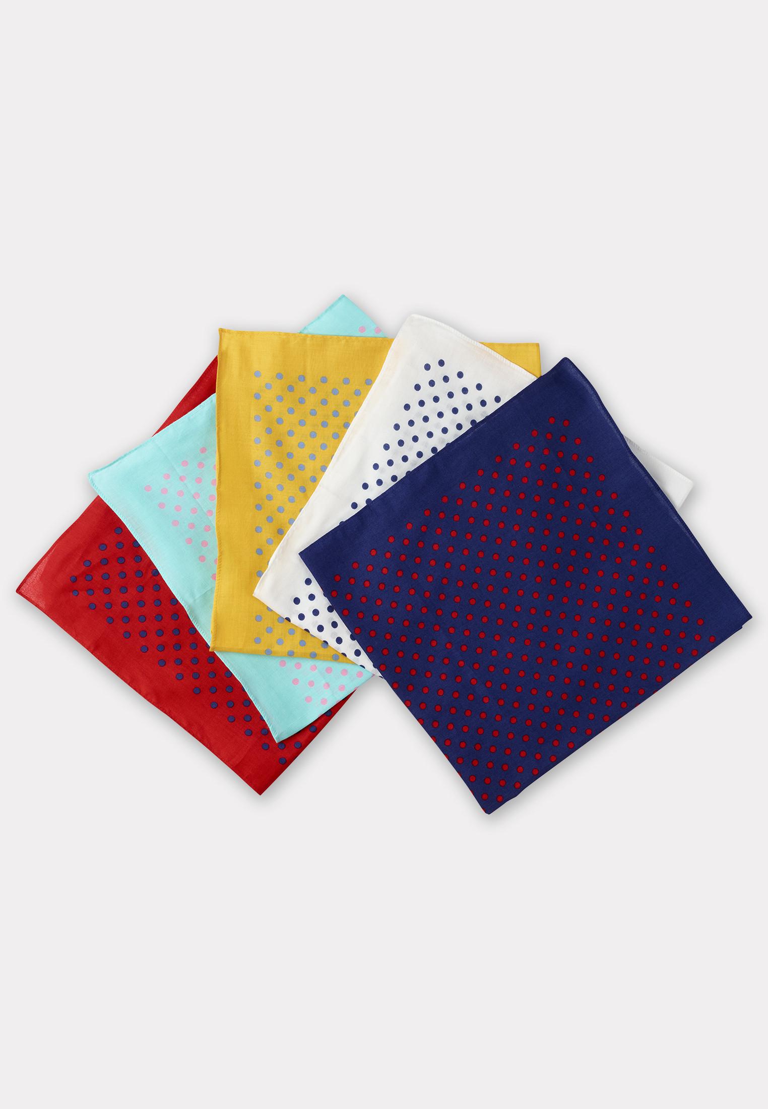 Large Handkerchief Bandana  - Presentation Pack of Five Assorted Spot Design