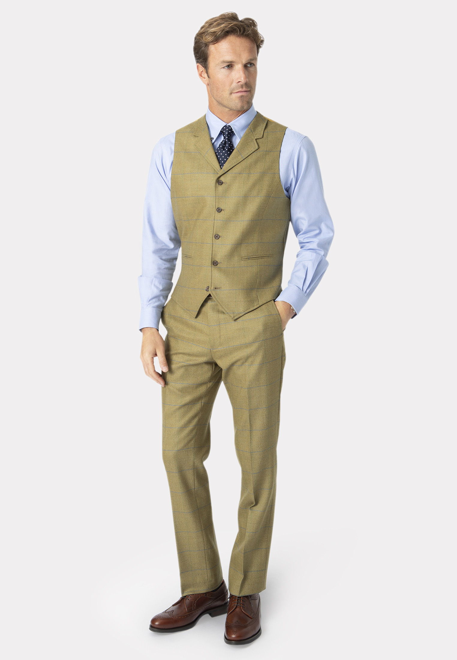 Fountains Sage Check Pure New Wool Suit Waistcoat
