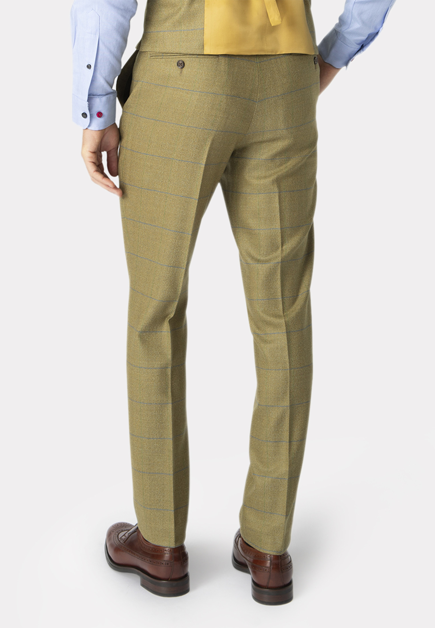 Fountains Sage Check Pure New Wool Suit Trouser