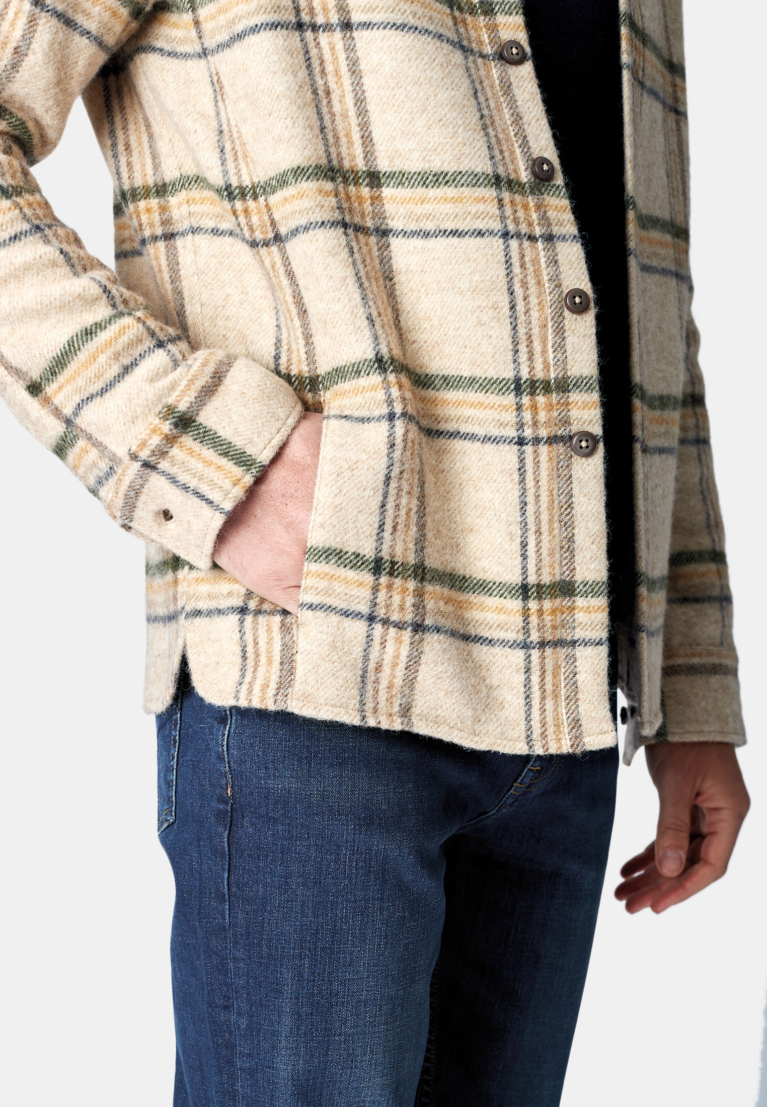 Greenland Winter White with Blue Forest and Gold Check Pure New Wool Heavy Weight Blanket Overshirt