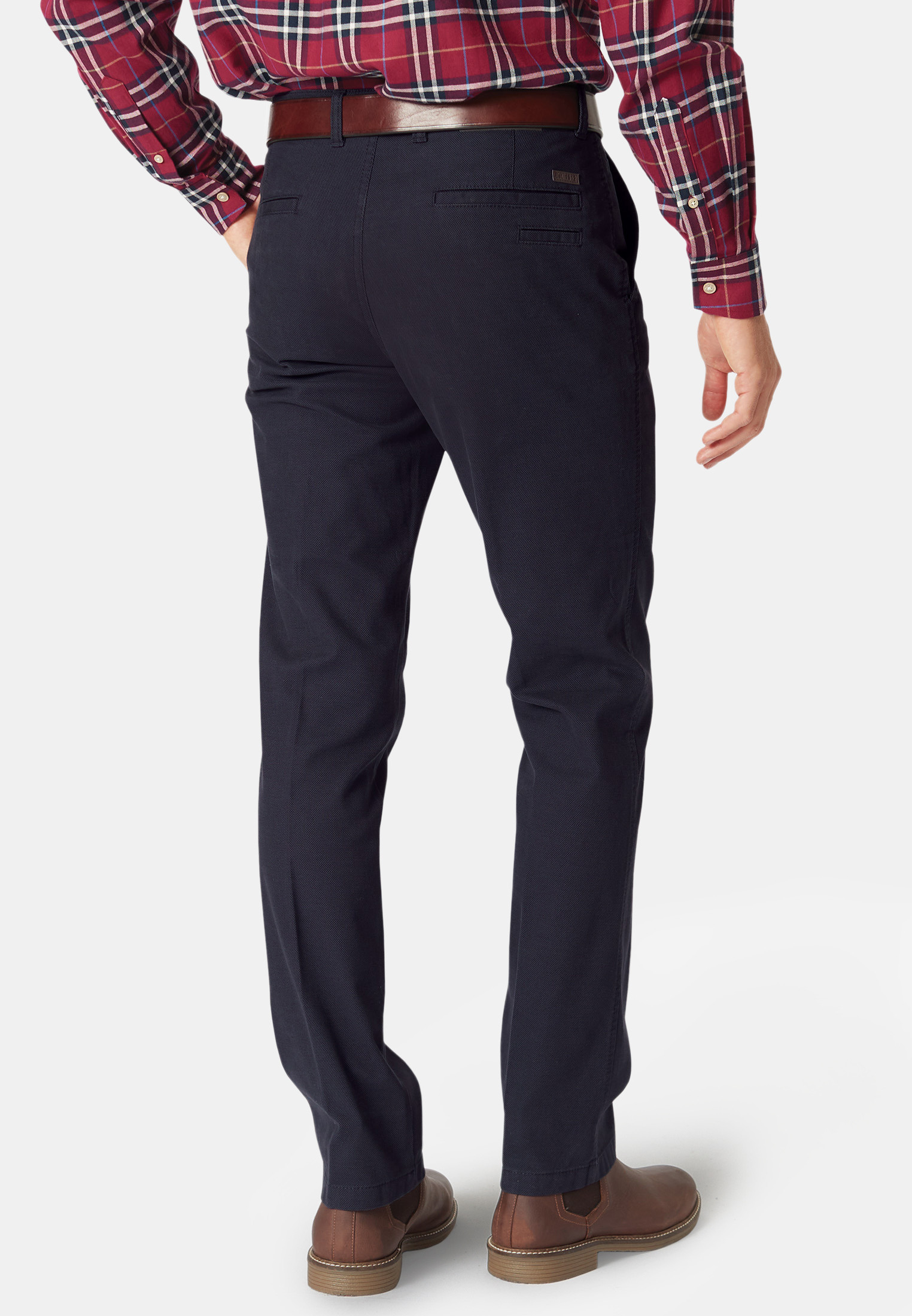 Havers Navy Micro Dot Casual Trouser