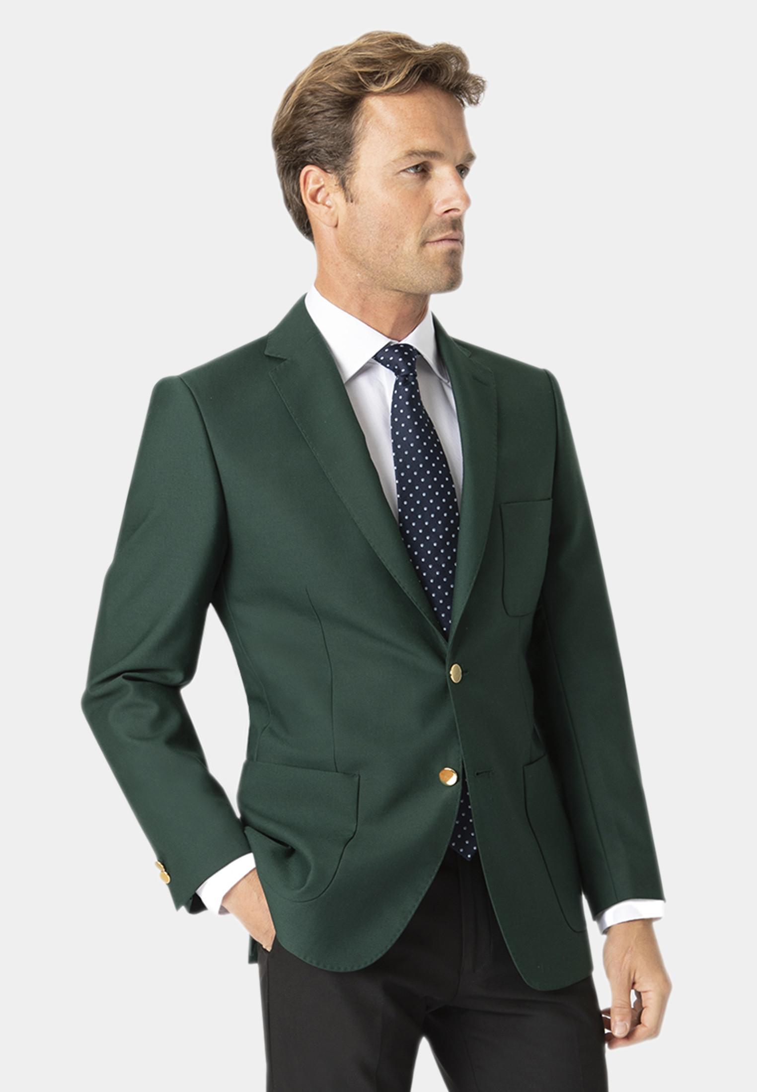 Green Henley Classic Wool Blend Patch Pocket Blazer