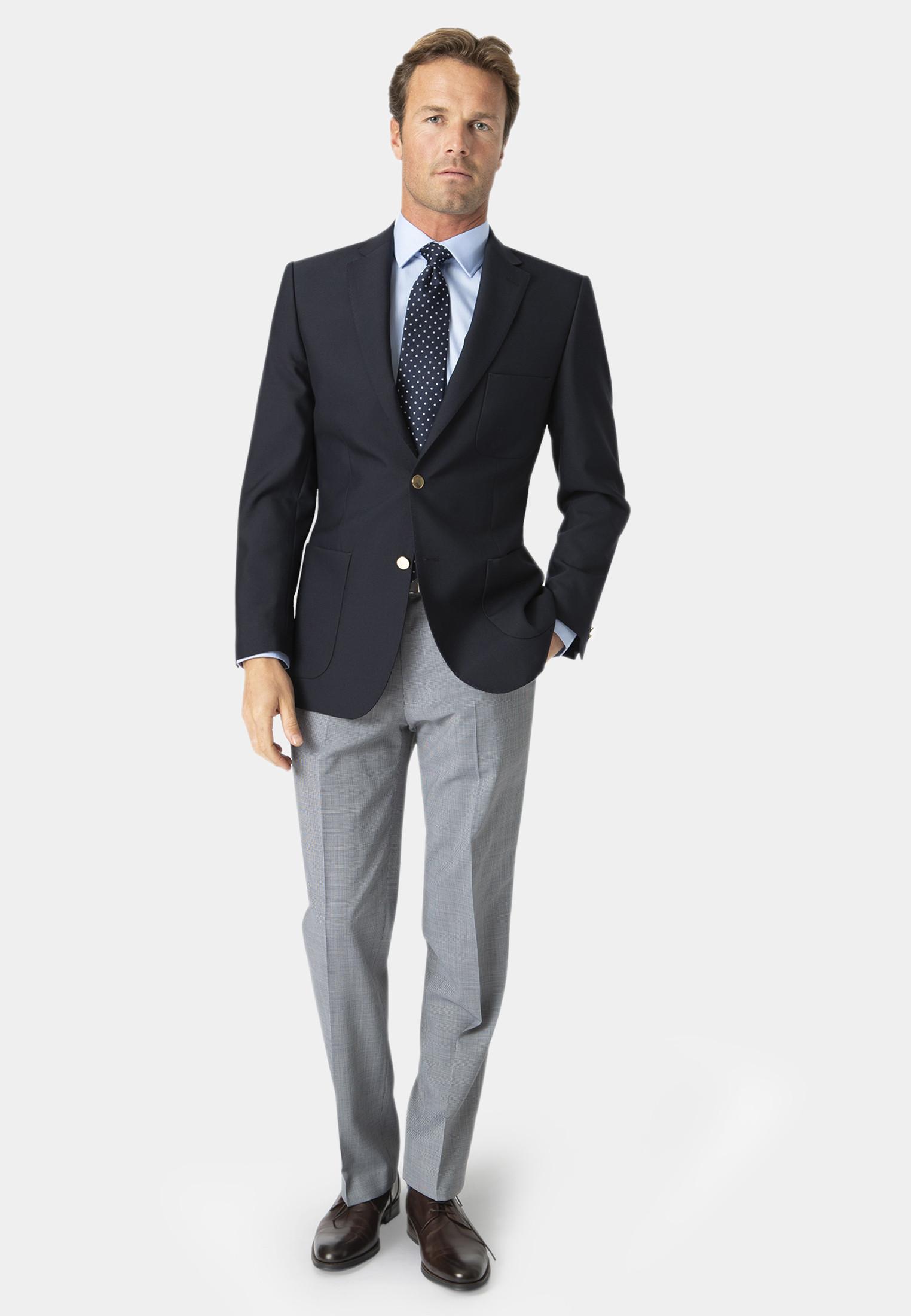 Navy Henley Classic Wool Blend Patch Pocket Blazer