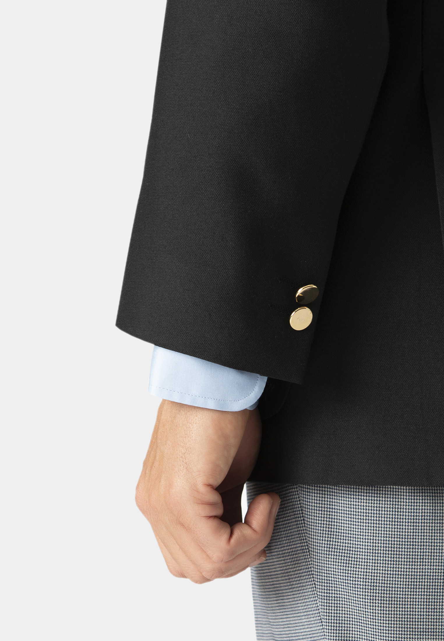 Black Henley Classic Wool Blend Patch Pocket Blazer