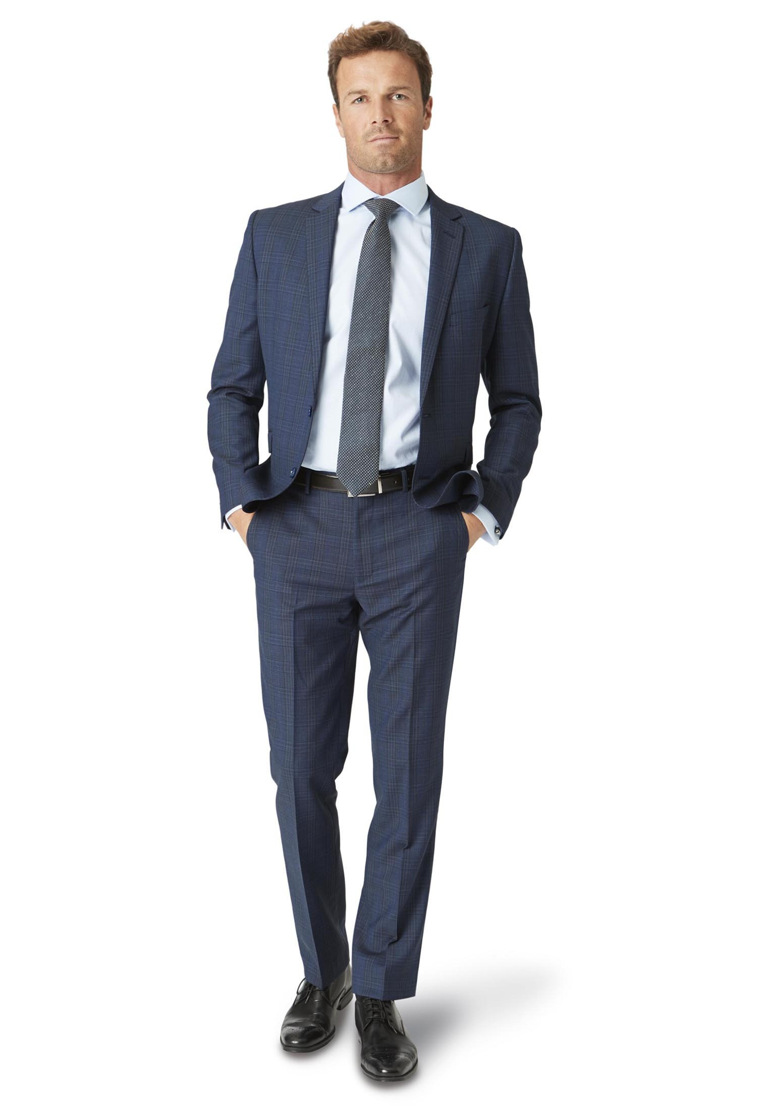 Hitchen Tailored Fit Three Piece Blue Check Suit - Waistcoat Optional