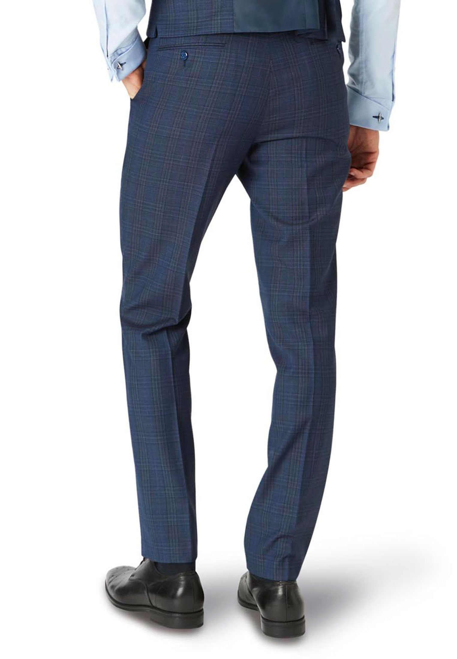 Hitchen Tailored Fit  Blue Check Trouser