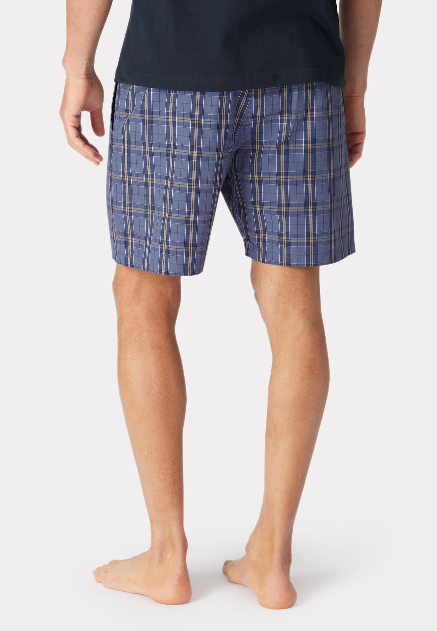 Holmfirth Blue Grid Check Cotton Lounge Shorts