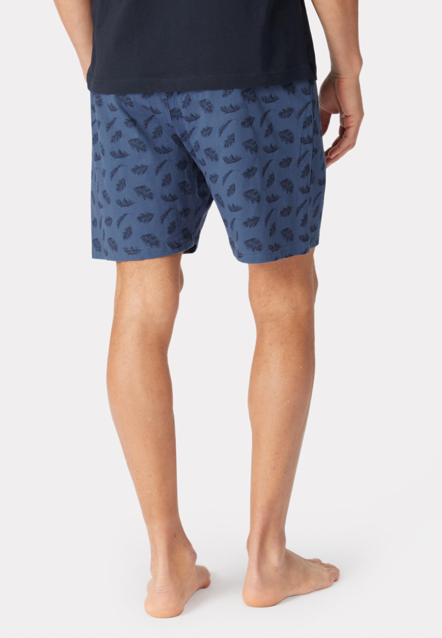 Masham Denim Blue with Feather Print Design Jersey Lounge Shorts