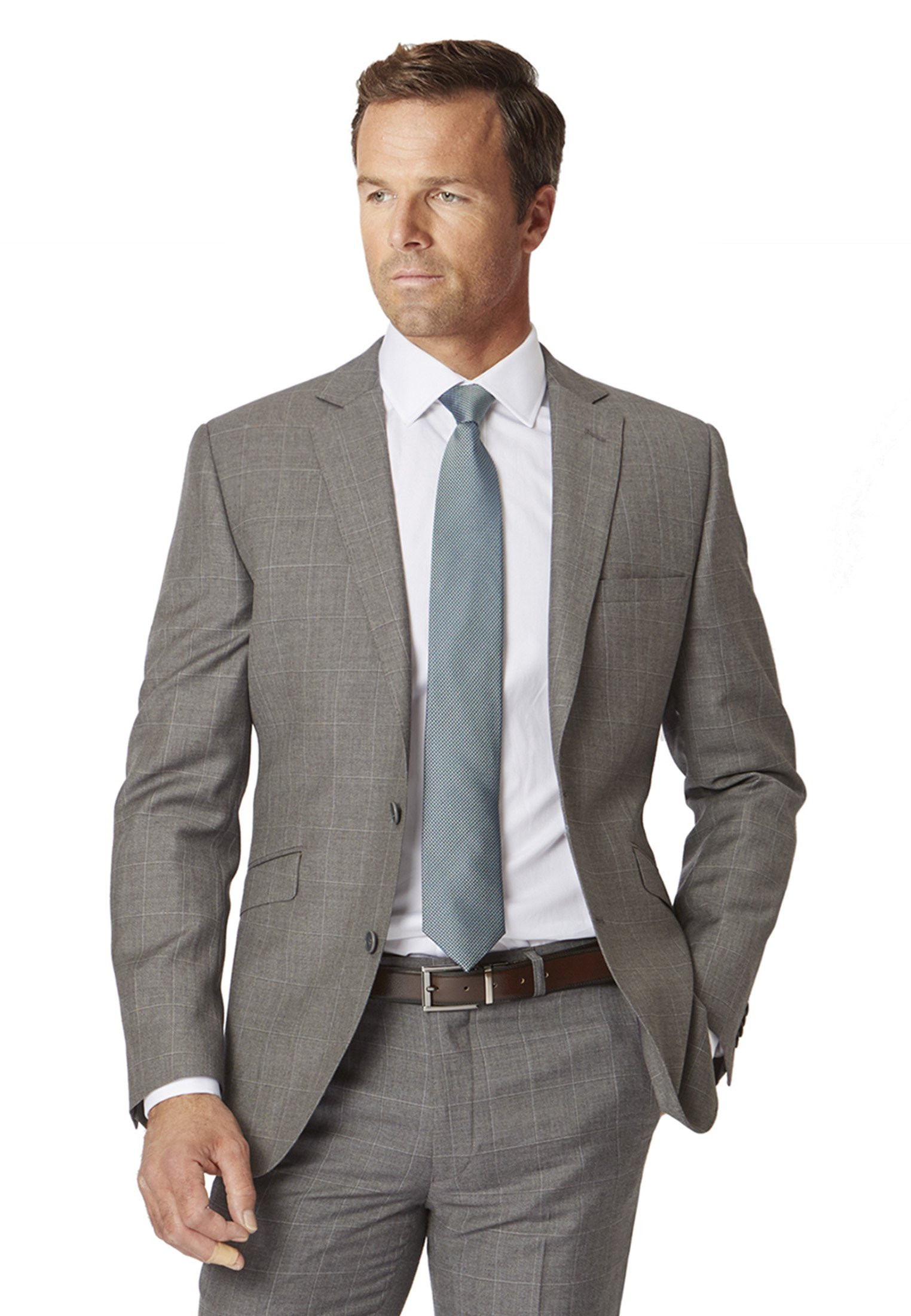 Grey Miller Tailored Fit 'Yorkshire' Pure New Wool Check Suit Jacket