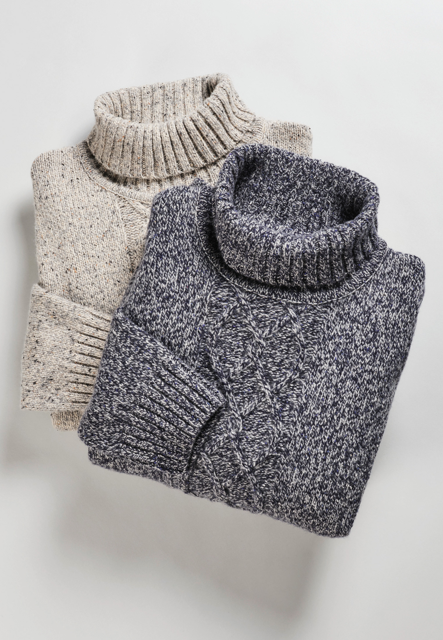 Oxenhope Winter Stone Nep 3 Gauge Cable Front Roll Neck Jumper