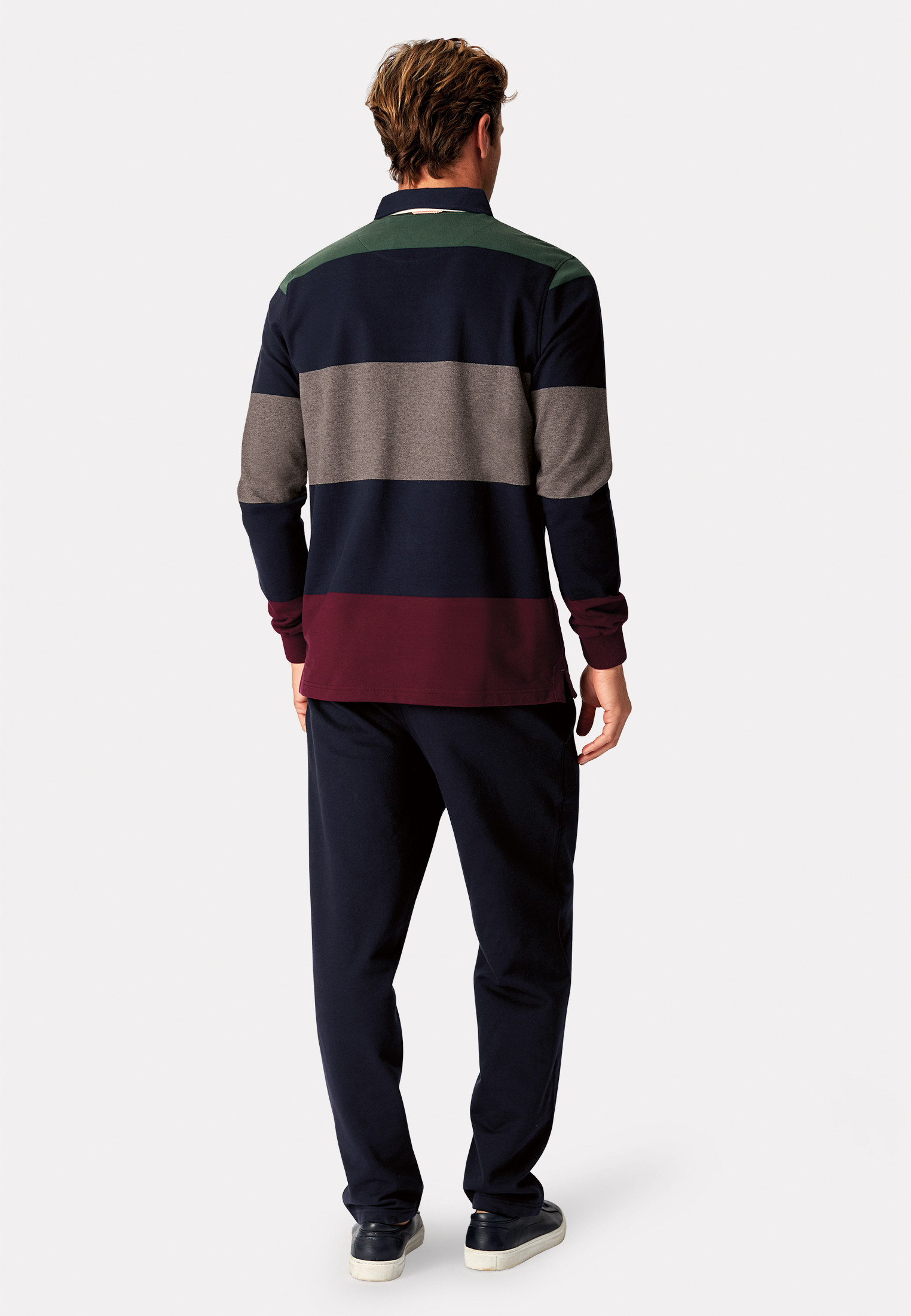 Richmond Wine Navy Charcoal and Green Hoop Rugby Shirt