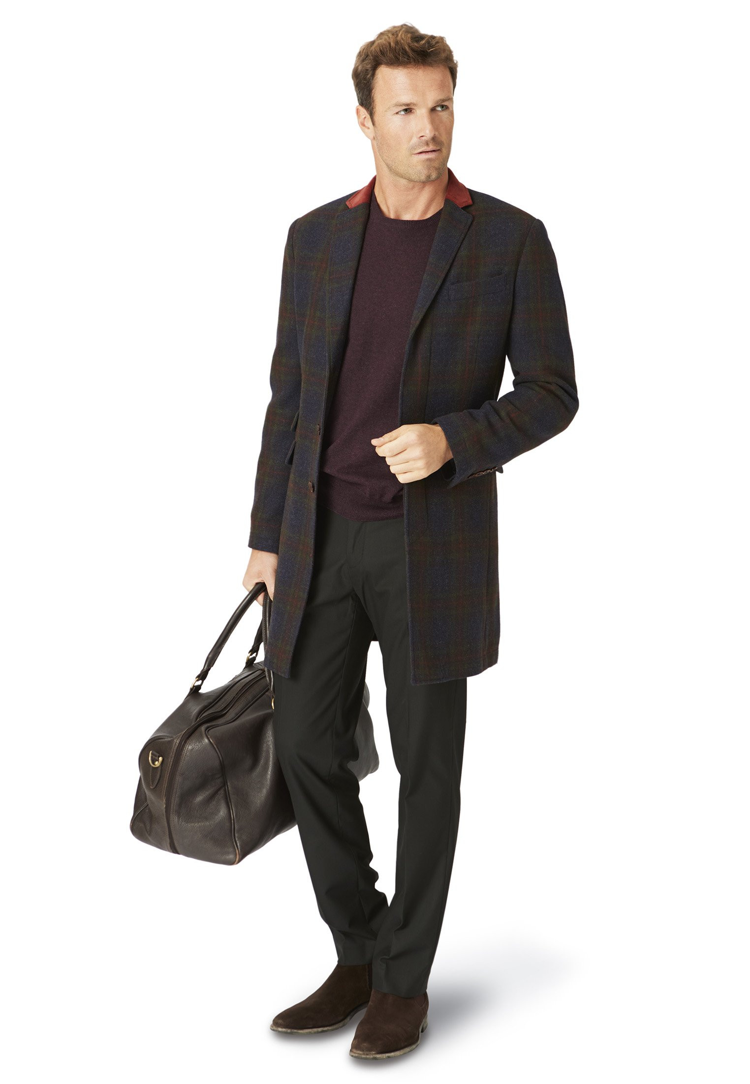 Rowan Navy Check Overcoat
