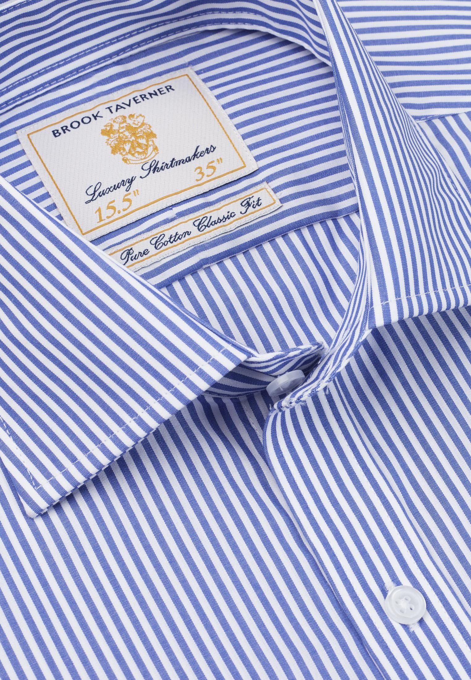 Mid Blue Bengal Stripe 100% Easycare Cotton Button Cuff Shirt