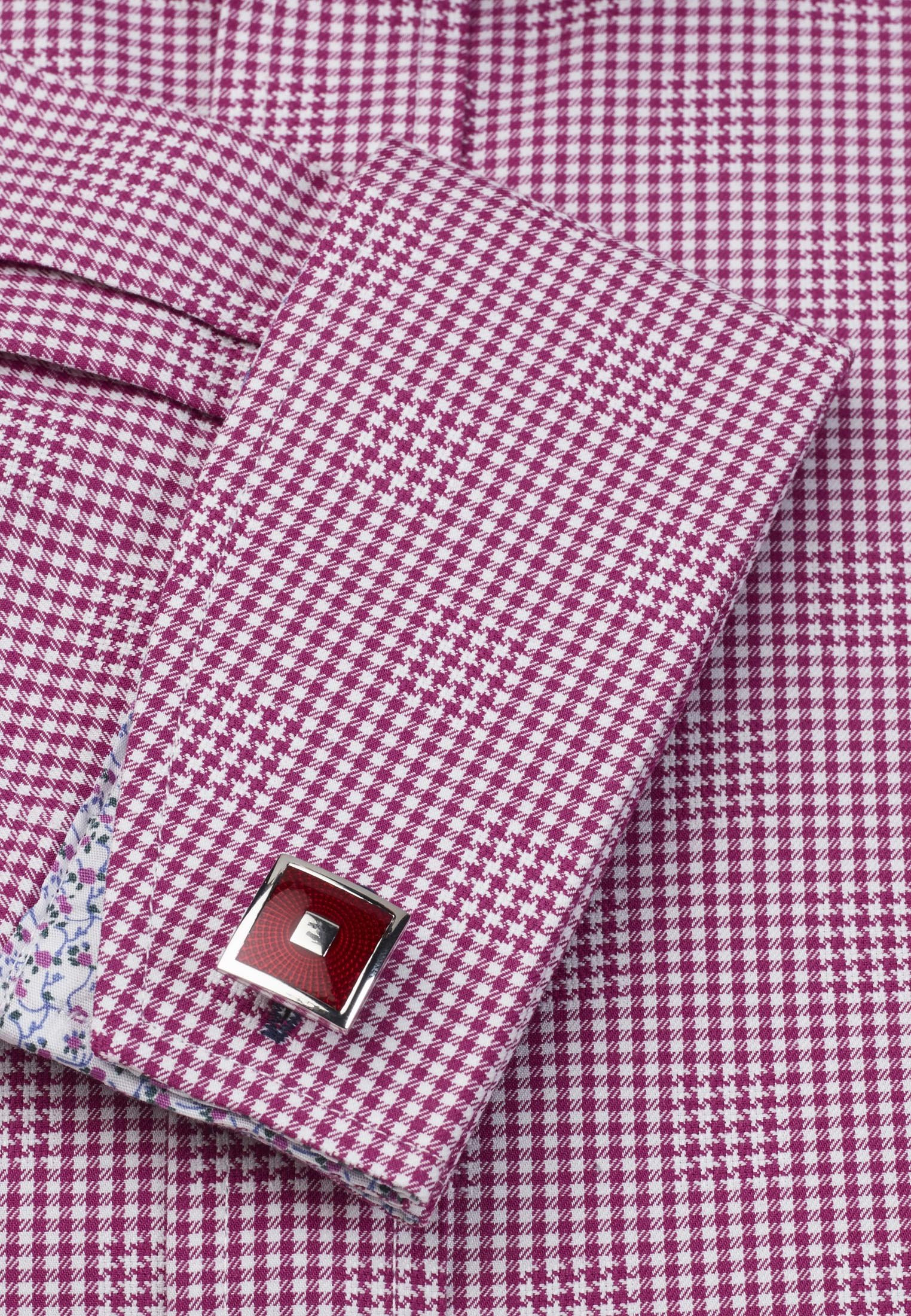 Signature Red Gingham Dobby Check Double Cuff Tailored Fit Shirt
