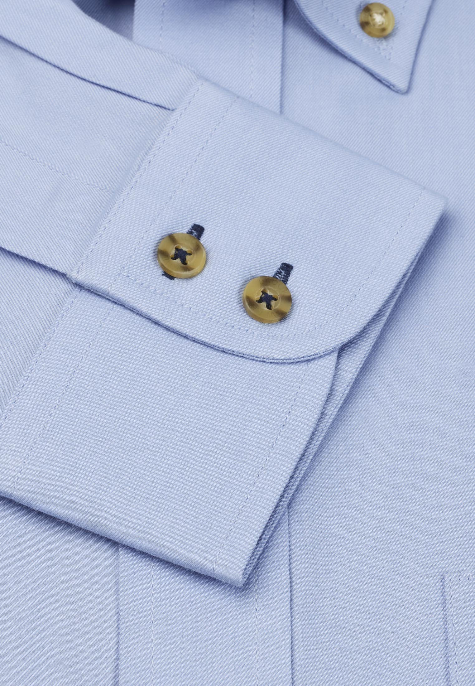 Plain Blue Twill Peached Cotton Button Down Collar Shirt