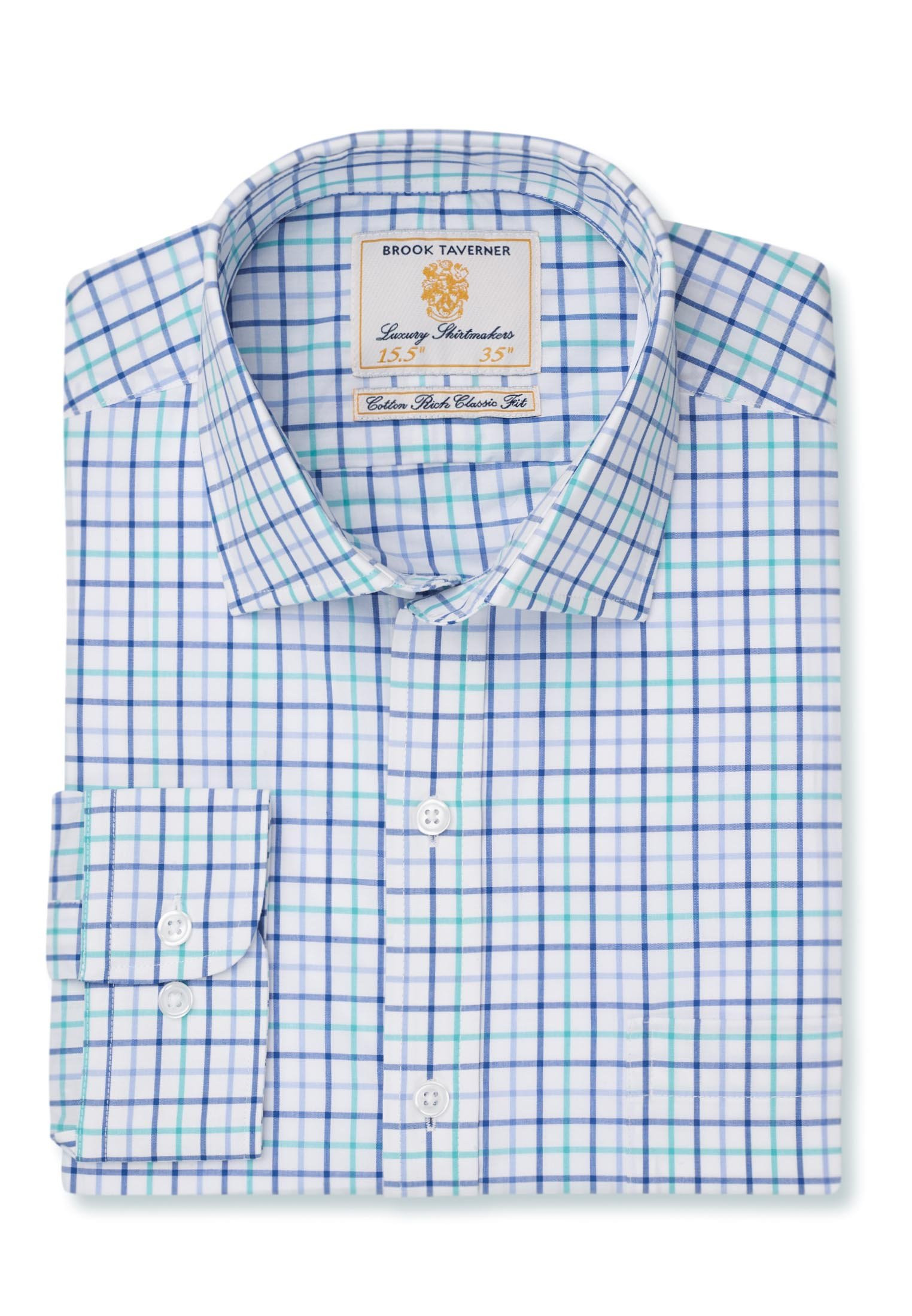 Long And Short Sleeve Navy, Blue And Green Neat Check Shirt