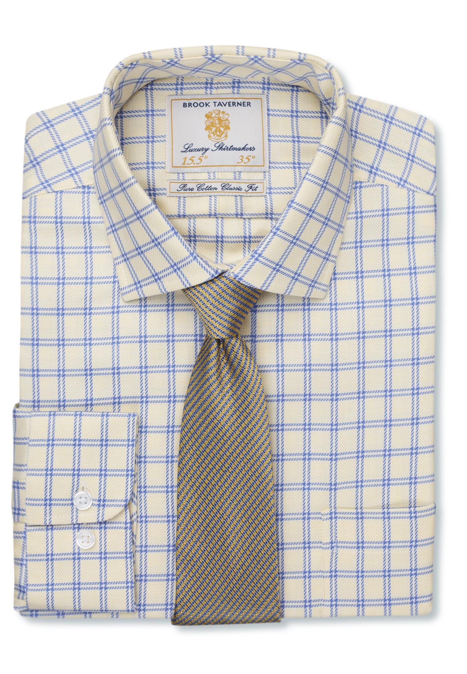Lemon And Blue Twill Check Single Cuff Shirt